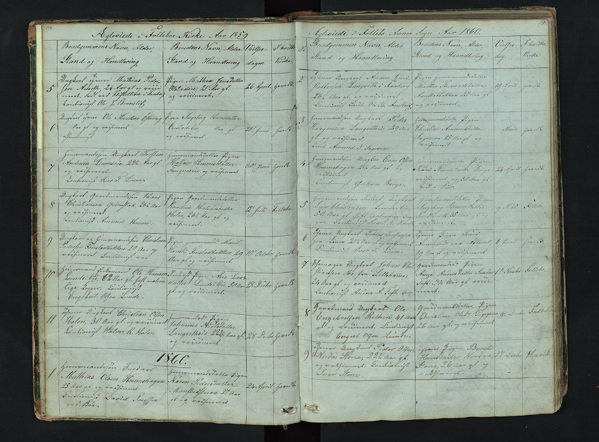 SAH, Gausdal prestekontor, Klokkerbok nr. 6, 1846-1893, s. 14-15