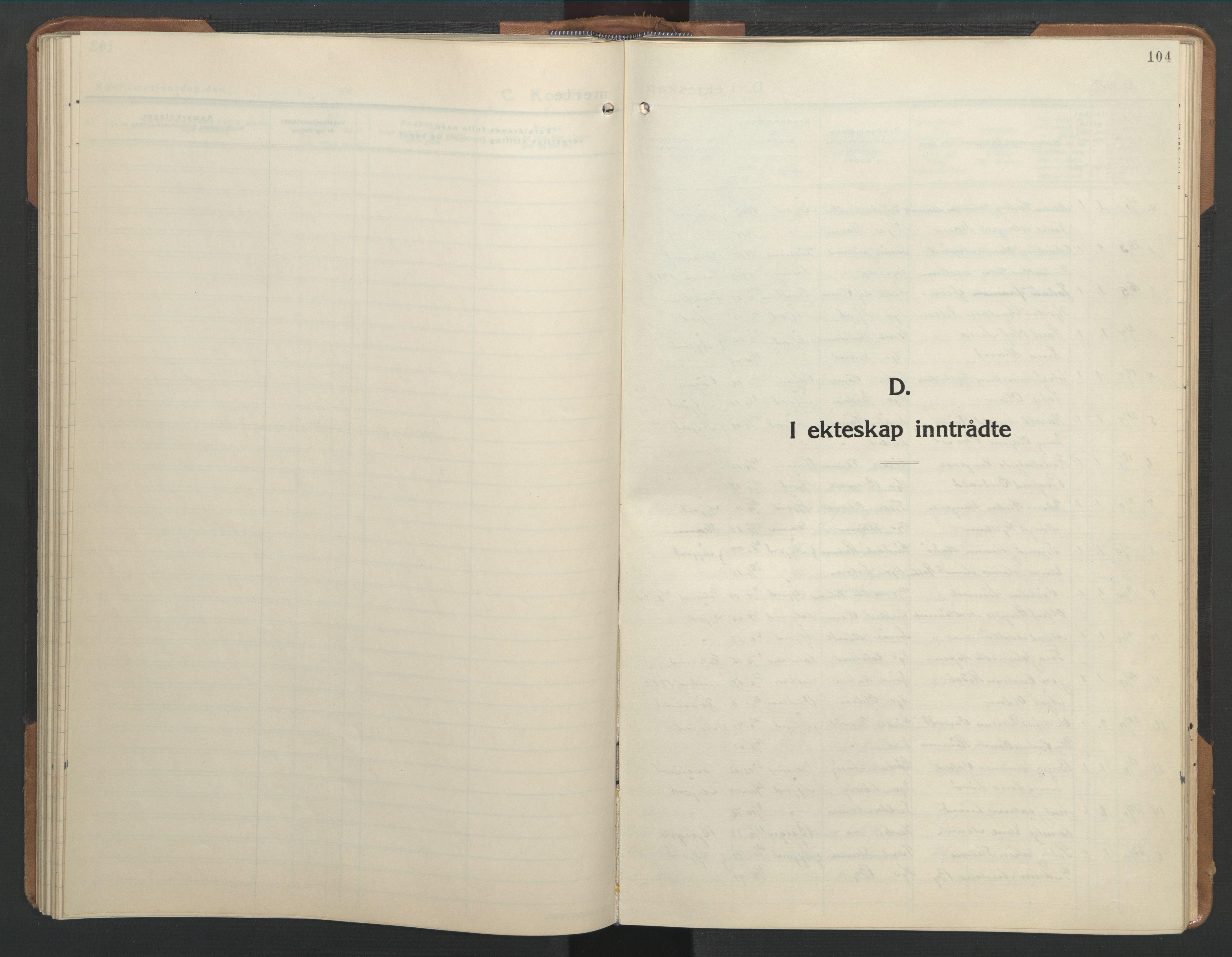 SAT, Ministerialprotokoller, klokkerbøker og fødselsregistre - Sør-Trøndelag, 655/L0690: Klokkerbok nr. 655C06, 1937-1950, s. 104