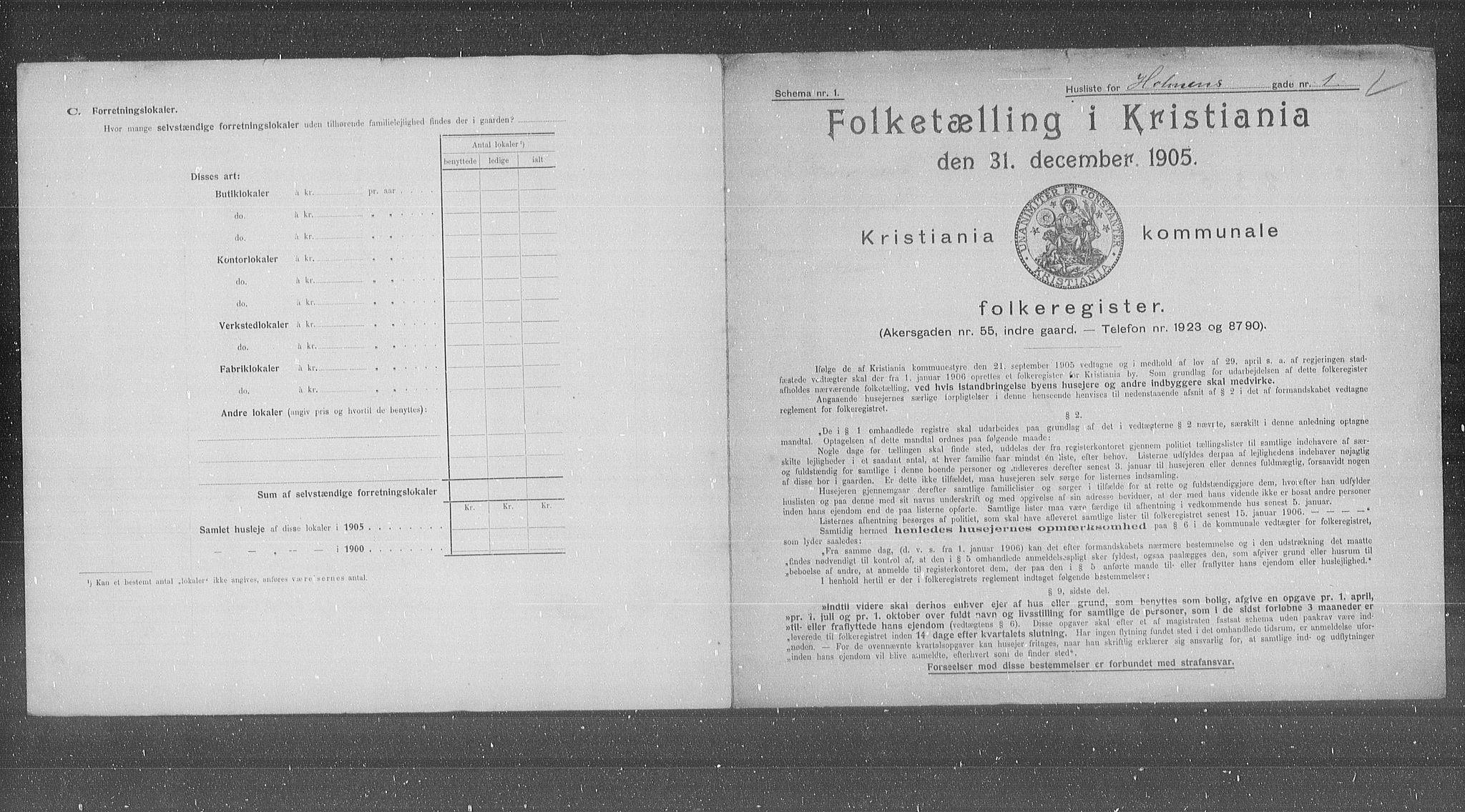 OBA, Kommunal folketelling 1905 for Kristiania kjøpstad, 1905, s. 21220
