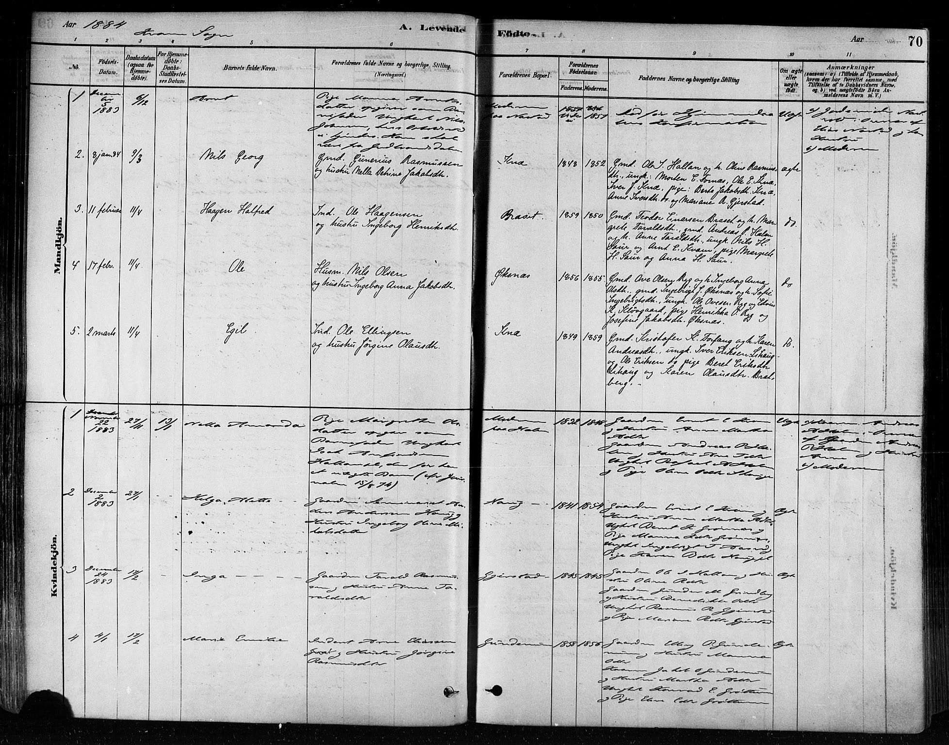 SAT, Ministerialprotokoller, klokkerbøker og fødselsregistre - Nord-Trøndelag, 746/L0449: Ministerialbok nr. 746A07 /2, 1878-1899, s. 70