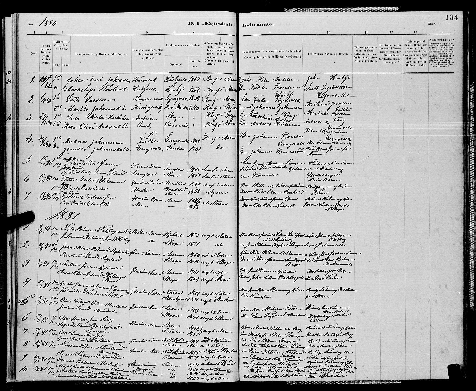 SAT, Ministerialprotokoller, klokkerbøker og fødselsregistre - Nord-Trøndelag, 714/L0134: Klokkerbok nr. 714C03, 1878-1898, s. 134