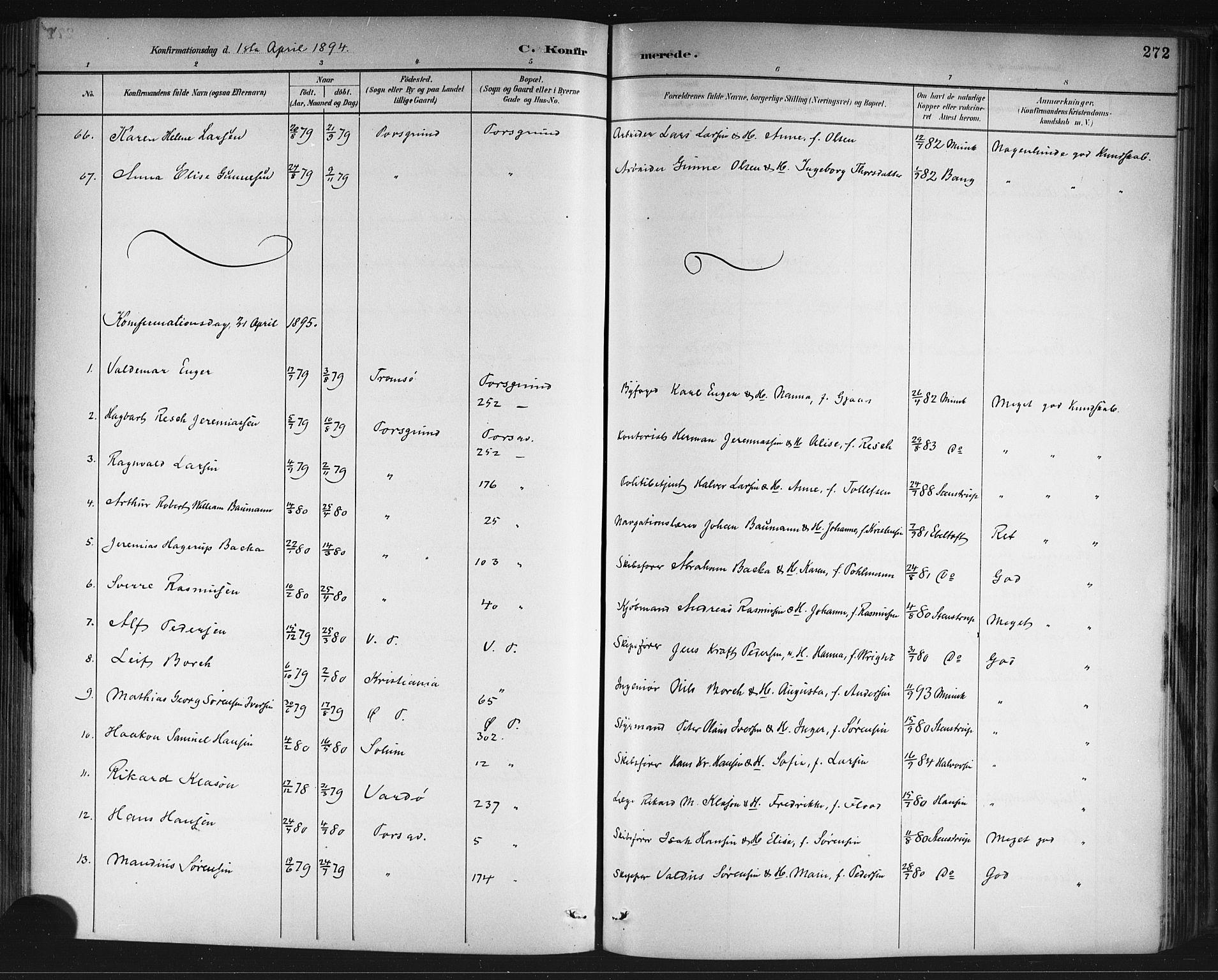 SAKO, Porsgrunn kirkebøker , G/Gb/L0005: Klokkerbok nr. II 5, 1883-1915, s. 272