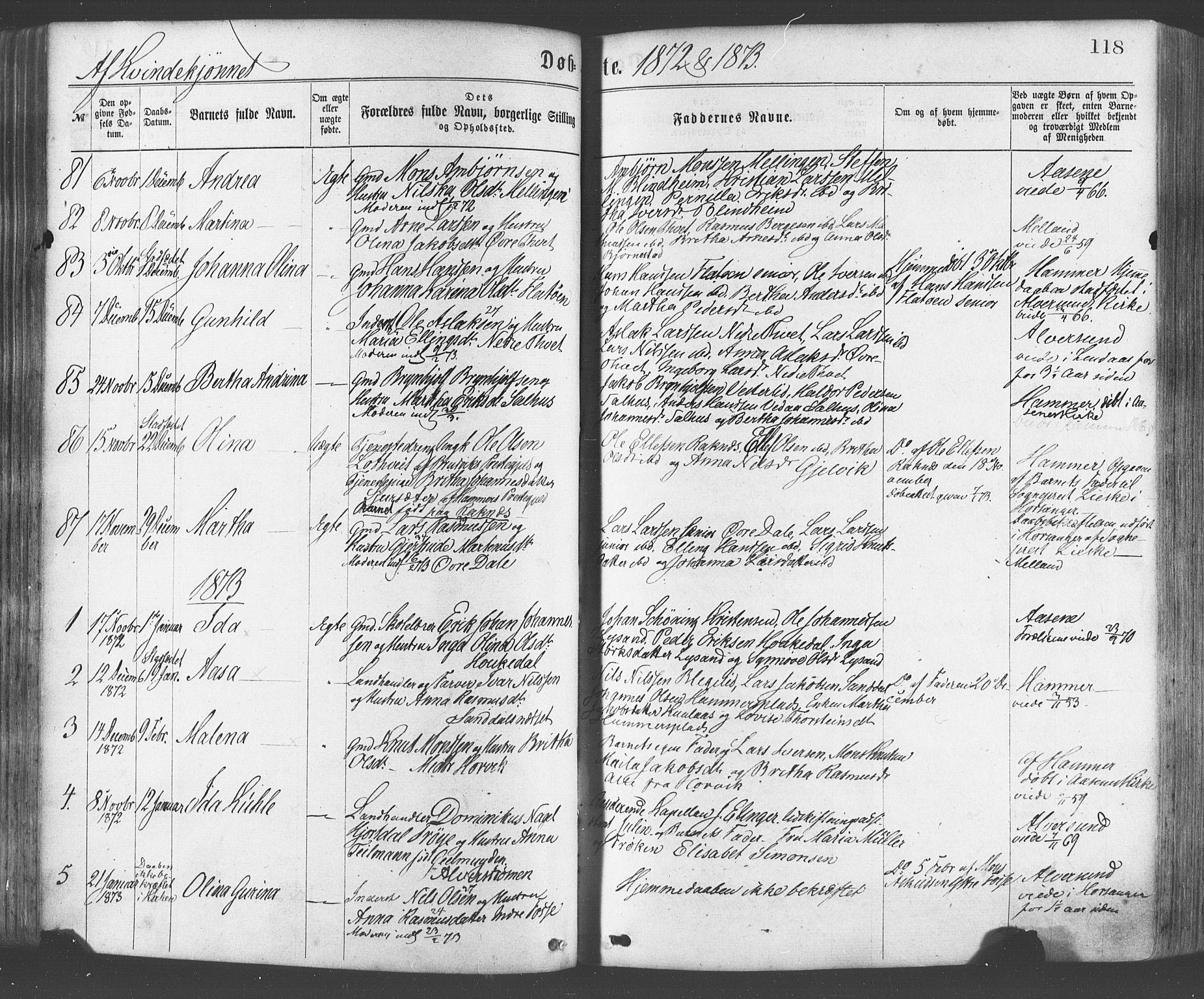 SAB, Hamre Sokneprestembete, H/Haa: Ministerialbok nr. A 15, 1870-1881, s. 118