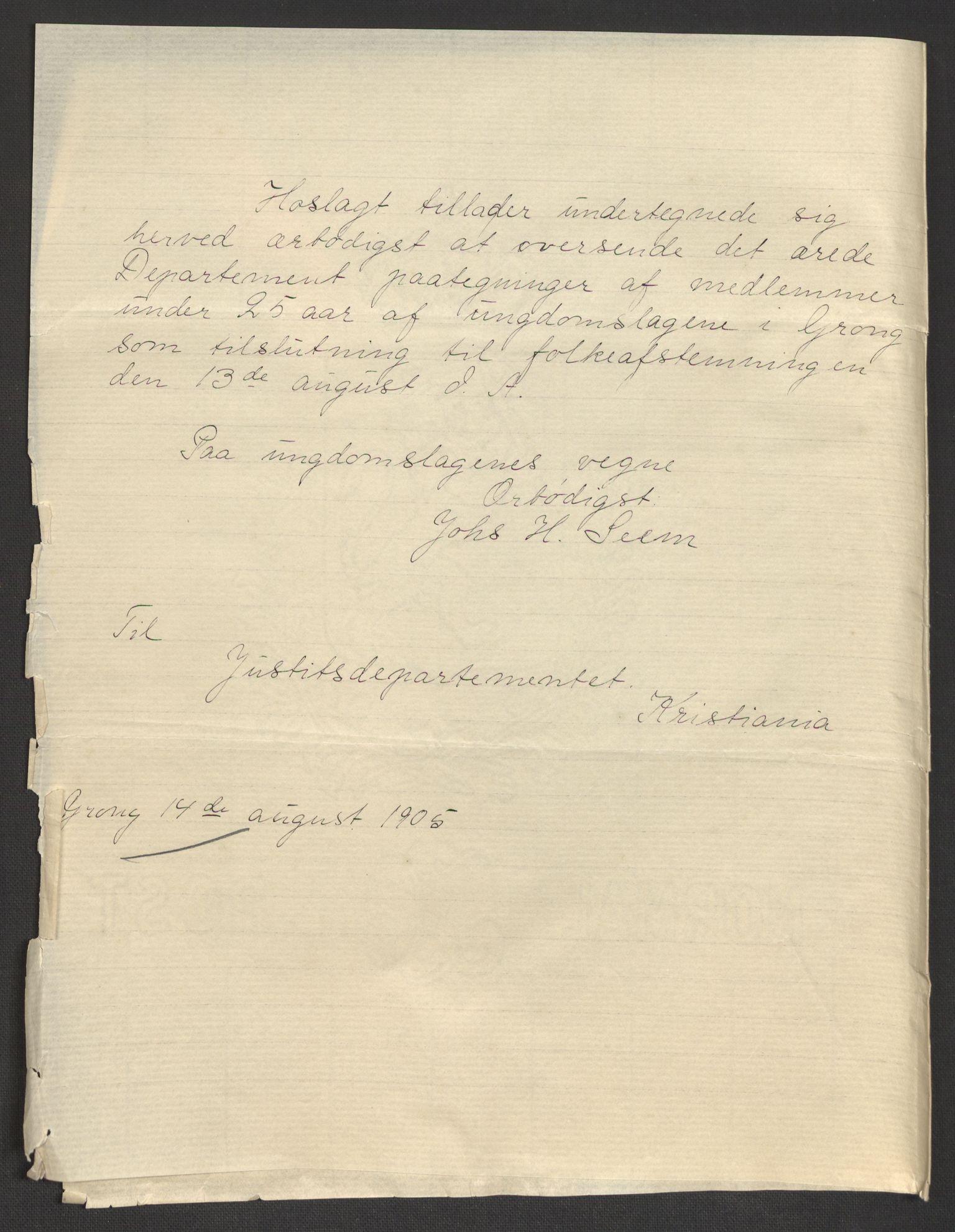 RA, Justisdepartementet, 2. sivilkontor C, F/L0125B: Folkeavstemmingen august 1905, 1905, s. 100