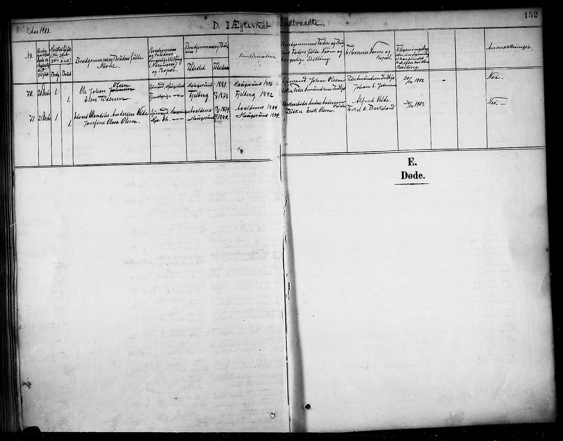SAST, Haugesund sokneprestkontor, H/Ha/Haa/L0005: Ministerialbok nr. A 5, 1891-1903, s. 152