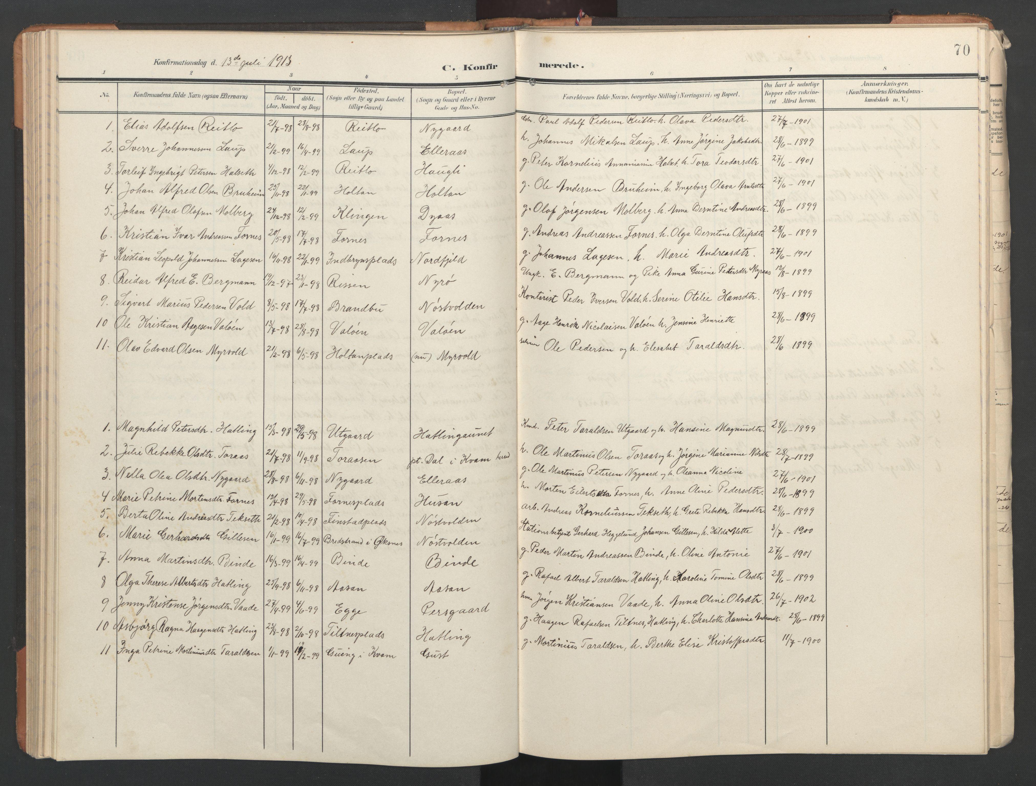 SAT, Ministerialprotokoller, klokkerbøker og fødselsregistre - Nord-Trøndelag, 746/L0455: Klokkerbok nr. 746C01, 1908-1933, s. 70