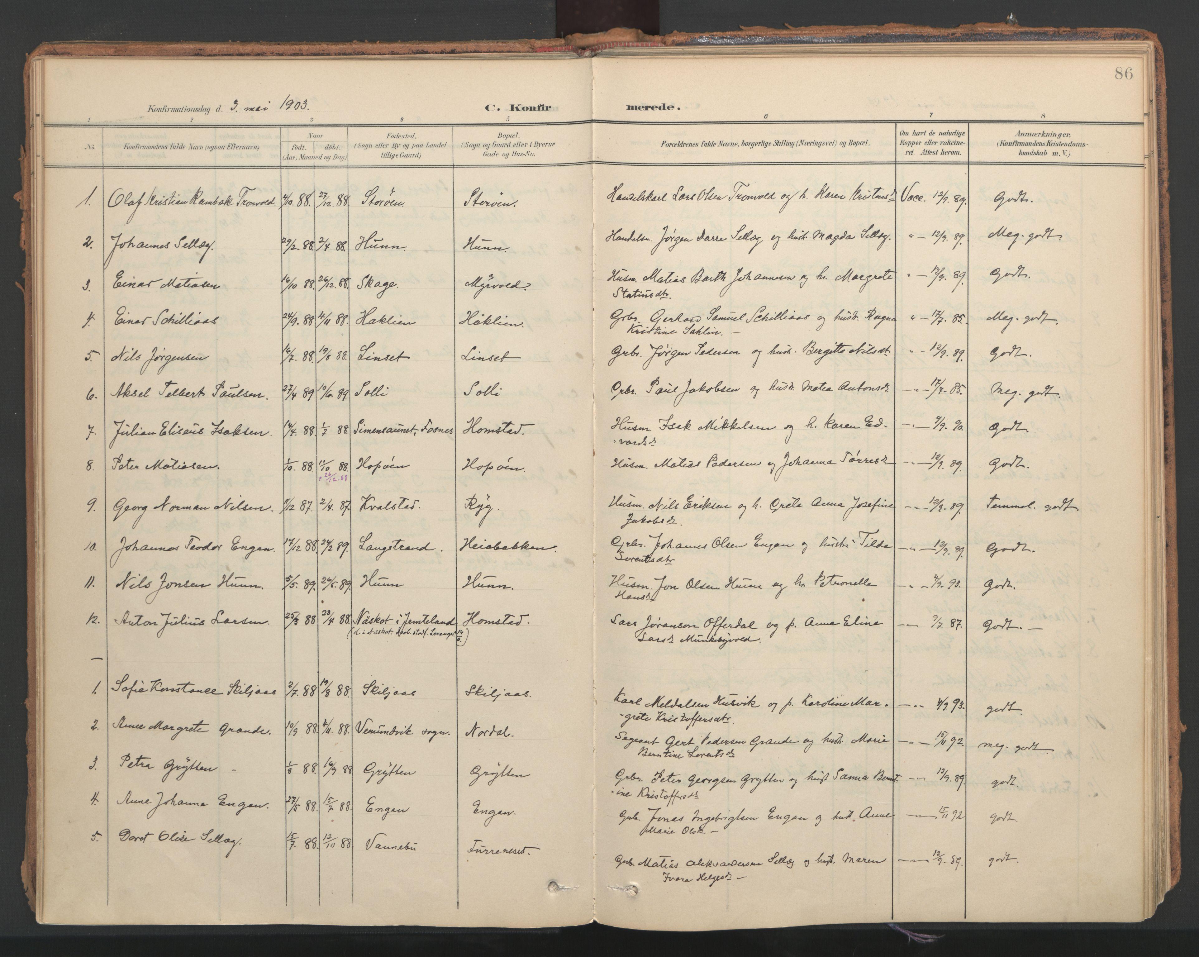 SAT, Ministerialprotokoller, klokkerbøker og fødselsregistre - Nord-Trøndelag, 766/L0564: Ministerialbok nr. 767A02, 1900-1932, s. 86