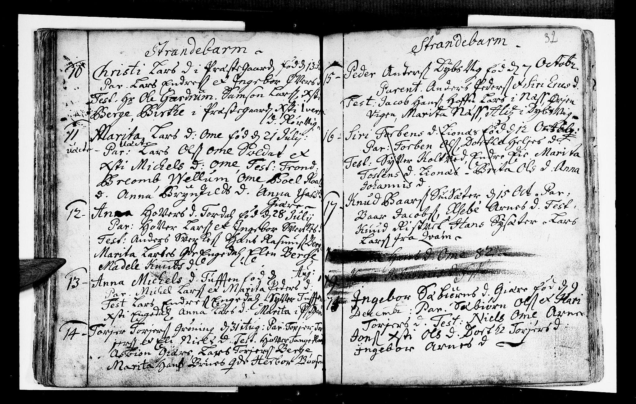 SAB, Strandebarm Sokneprestembete, H/Haa: Ministerialbok nr. A 2 /1, 1727-1750, s. 32