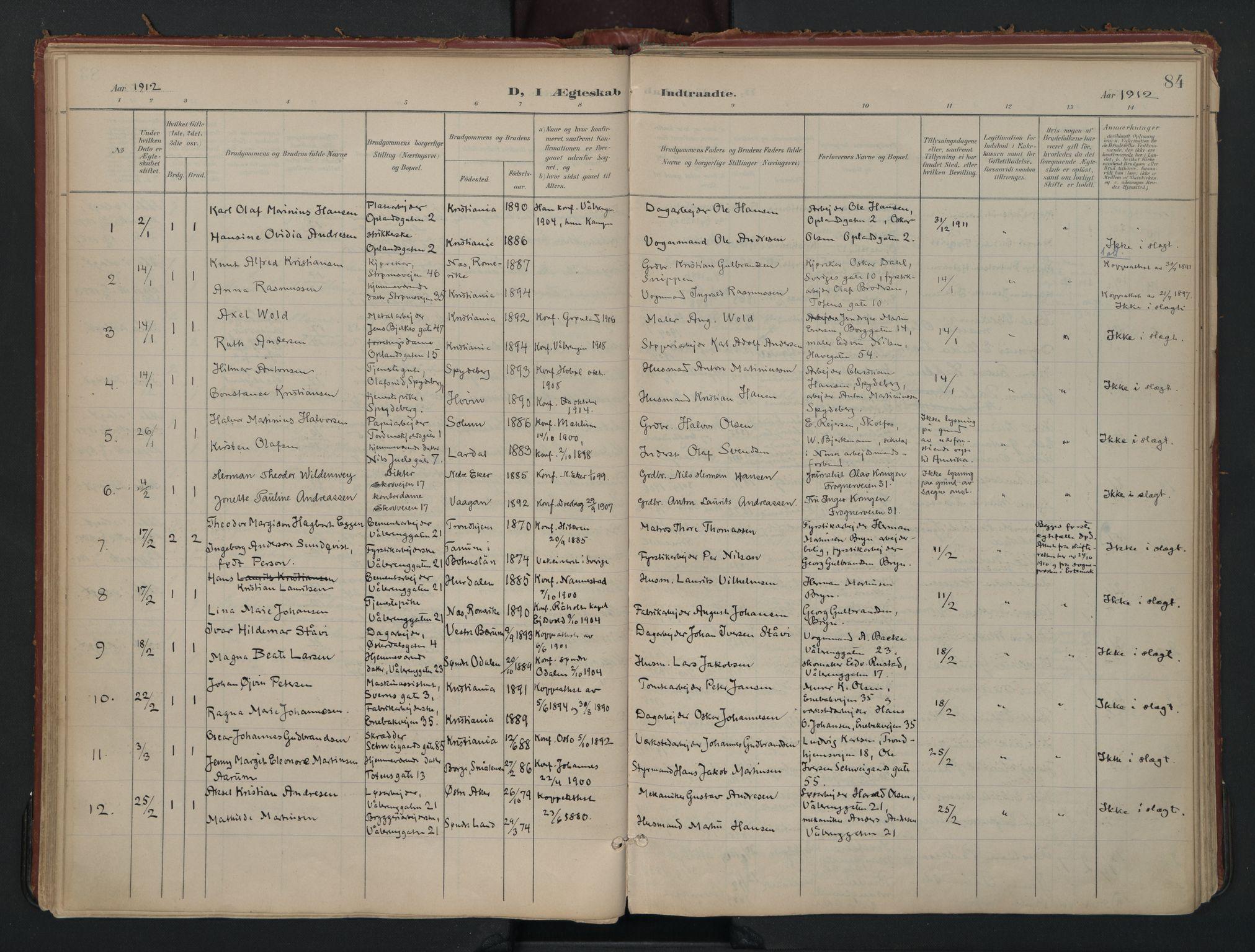 SAO, Vålerengen prestekontor Kirkebøker, F/Fa/L0002: Ministerialbok nr. 2, 1899-1924, s. 84