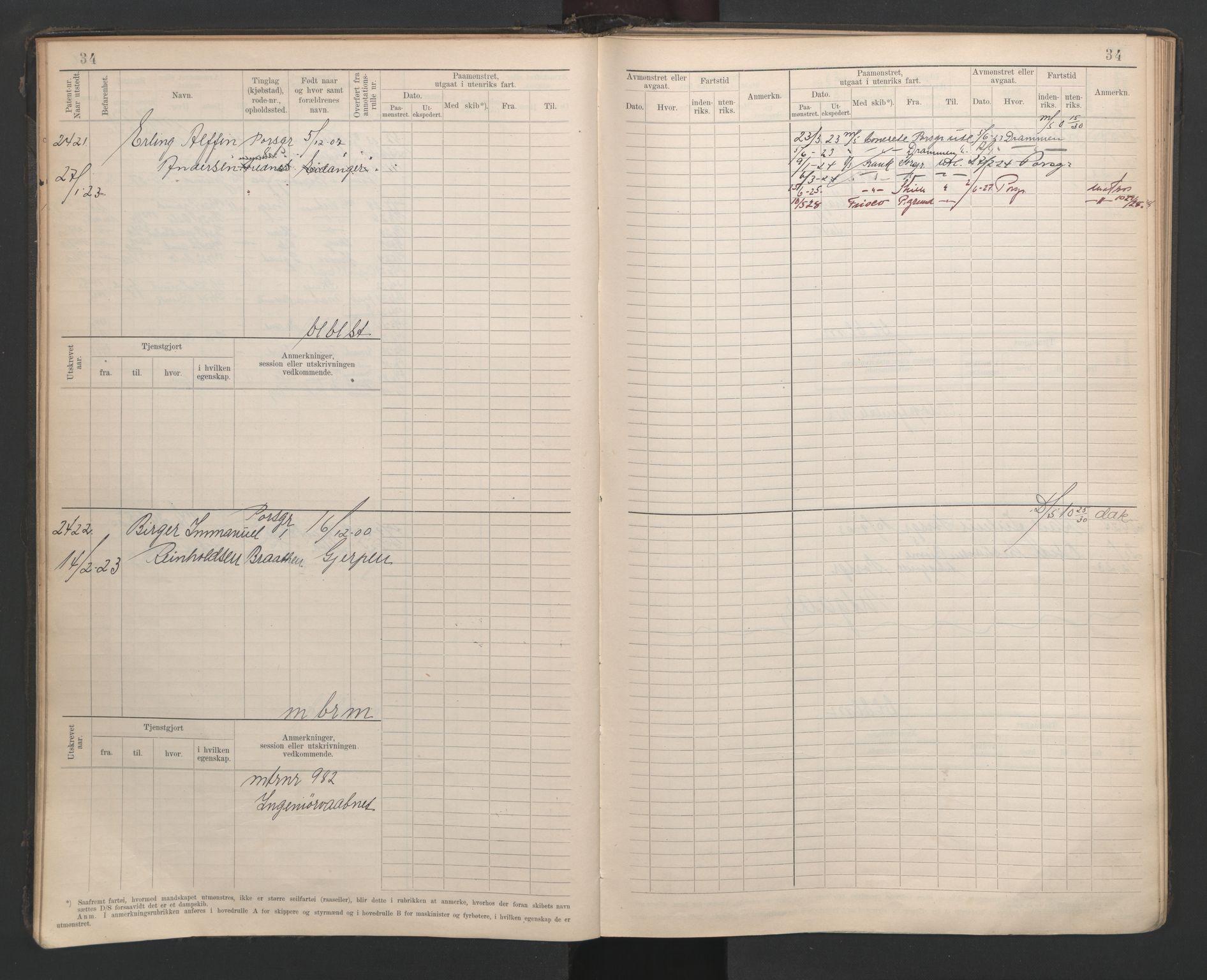 SAKO, Porsgrunn innrulleringskontor, F/Fb/L0007: Annotasjonsrulle, 1926-1948, s. 39