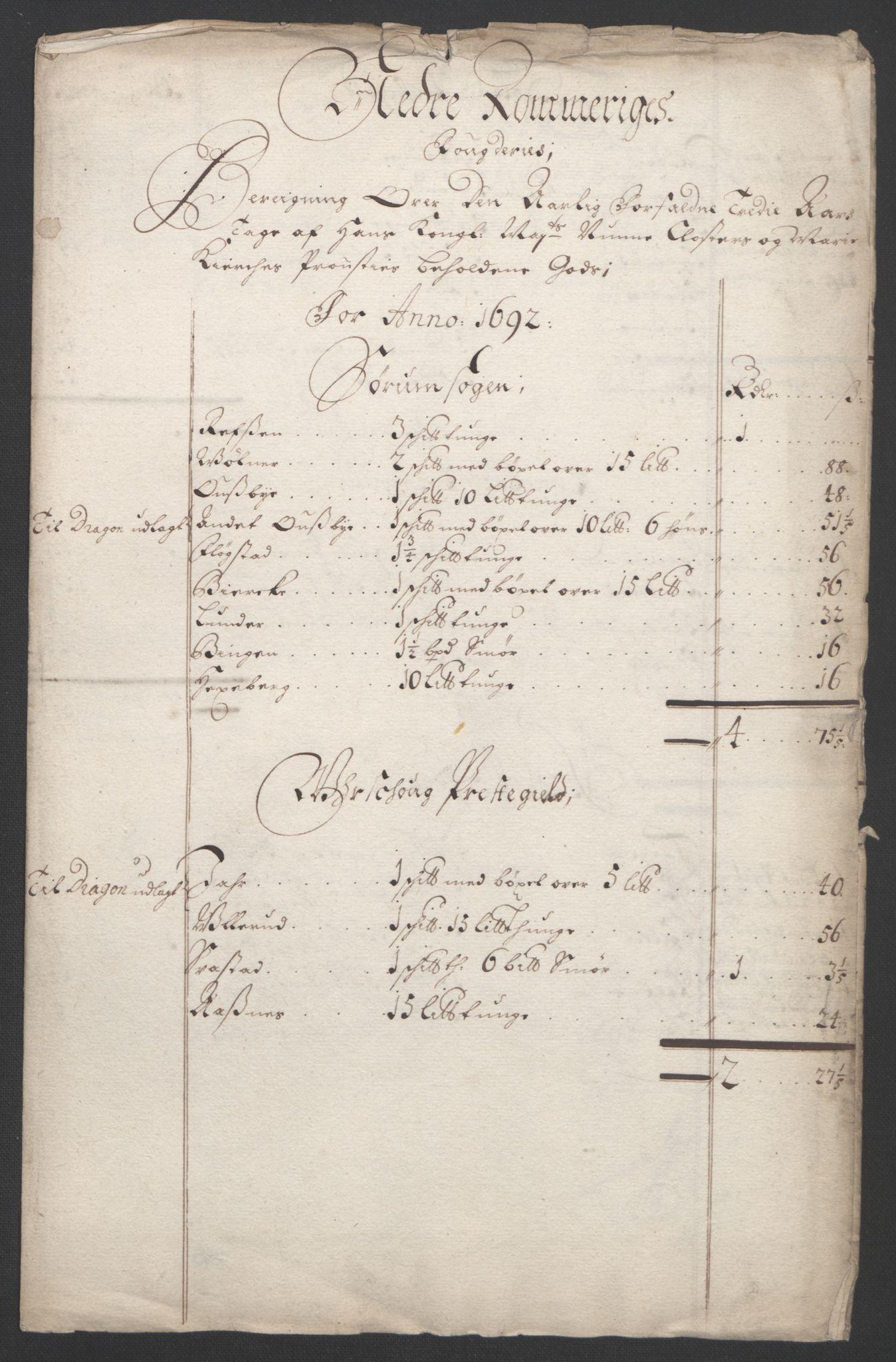 RA, Rentekammeret inntil 1814, Reviderte regnskaper, Fogderegnskap, R11/L0577: Fogderegnskap Nedre Romerike, 1692, s. 37