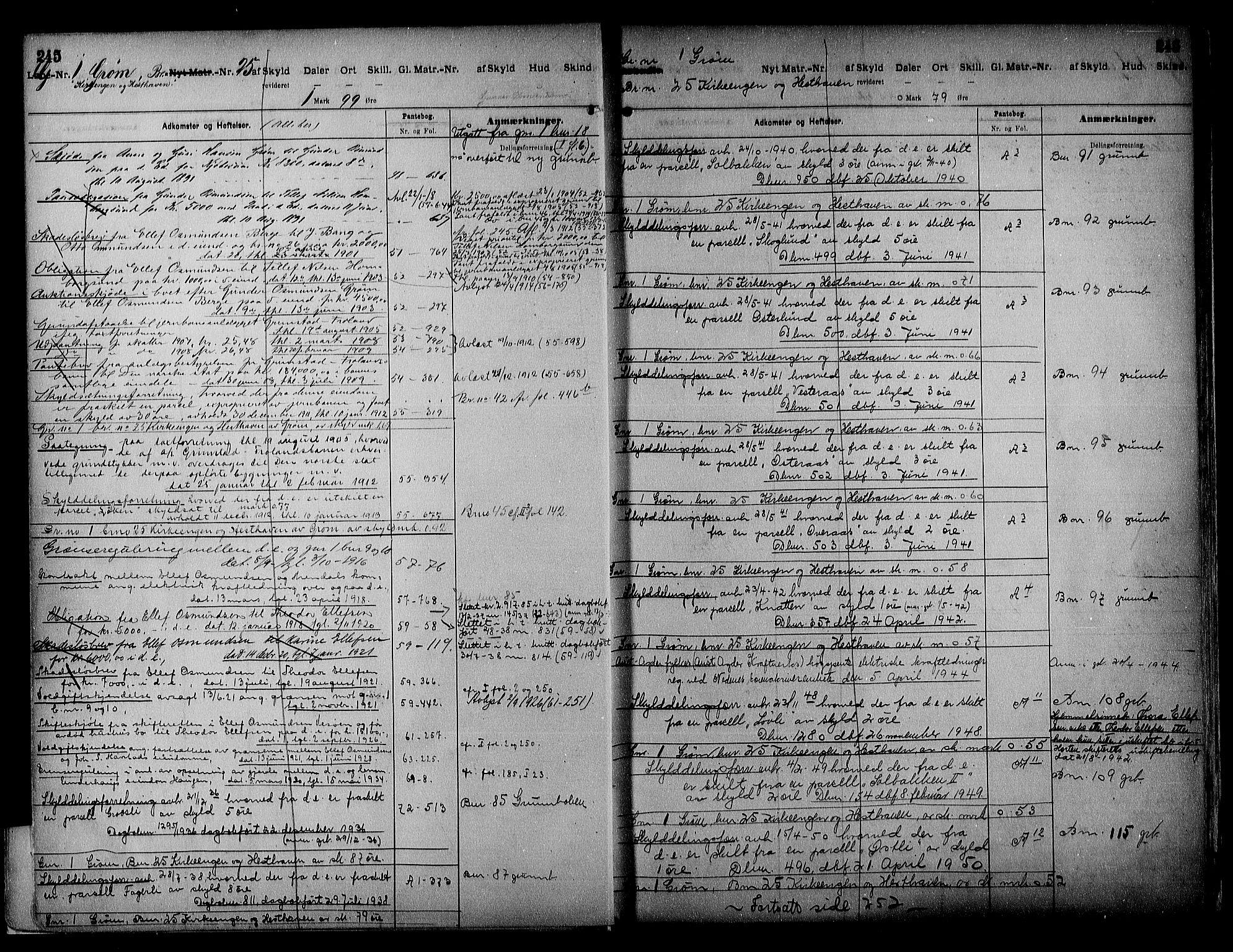 SAK, Vestre Nedenes/Sand sorenskriveri, G/Ga/L0018: Panteregister nr. 13b, 1872-1956, s. 245