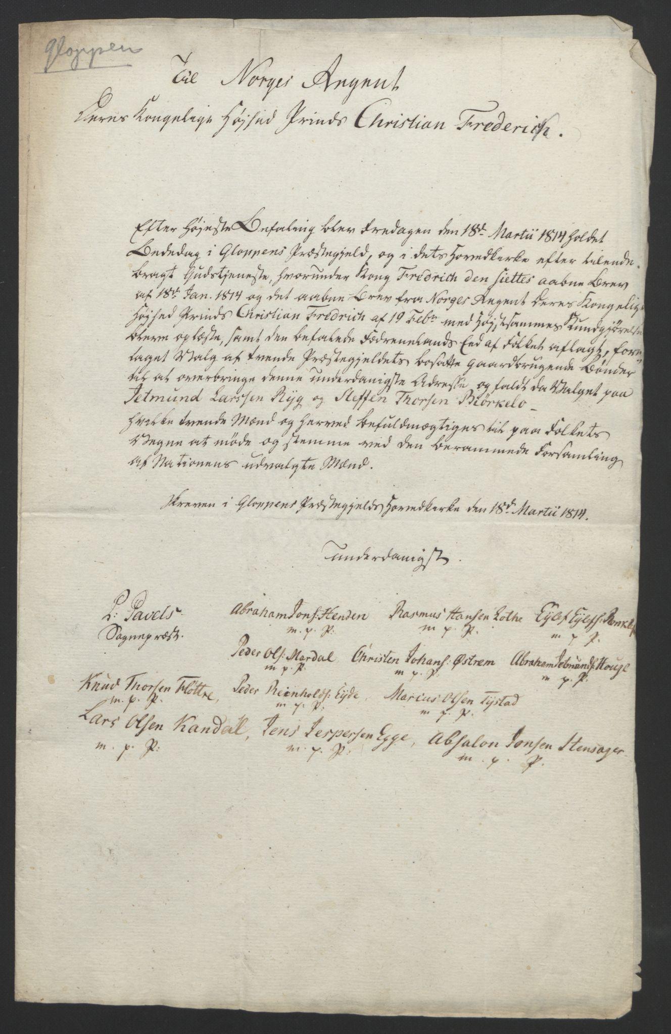 RA, Statsrådssekretariatet, D/Db/L0008: Fullmakter for Eidsvollsrepresentantene i 1814. , 1814, s. 323