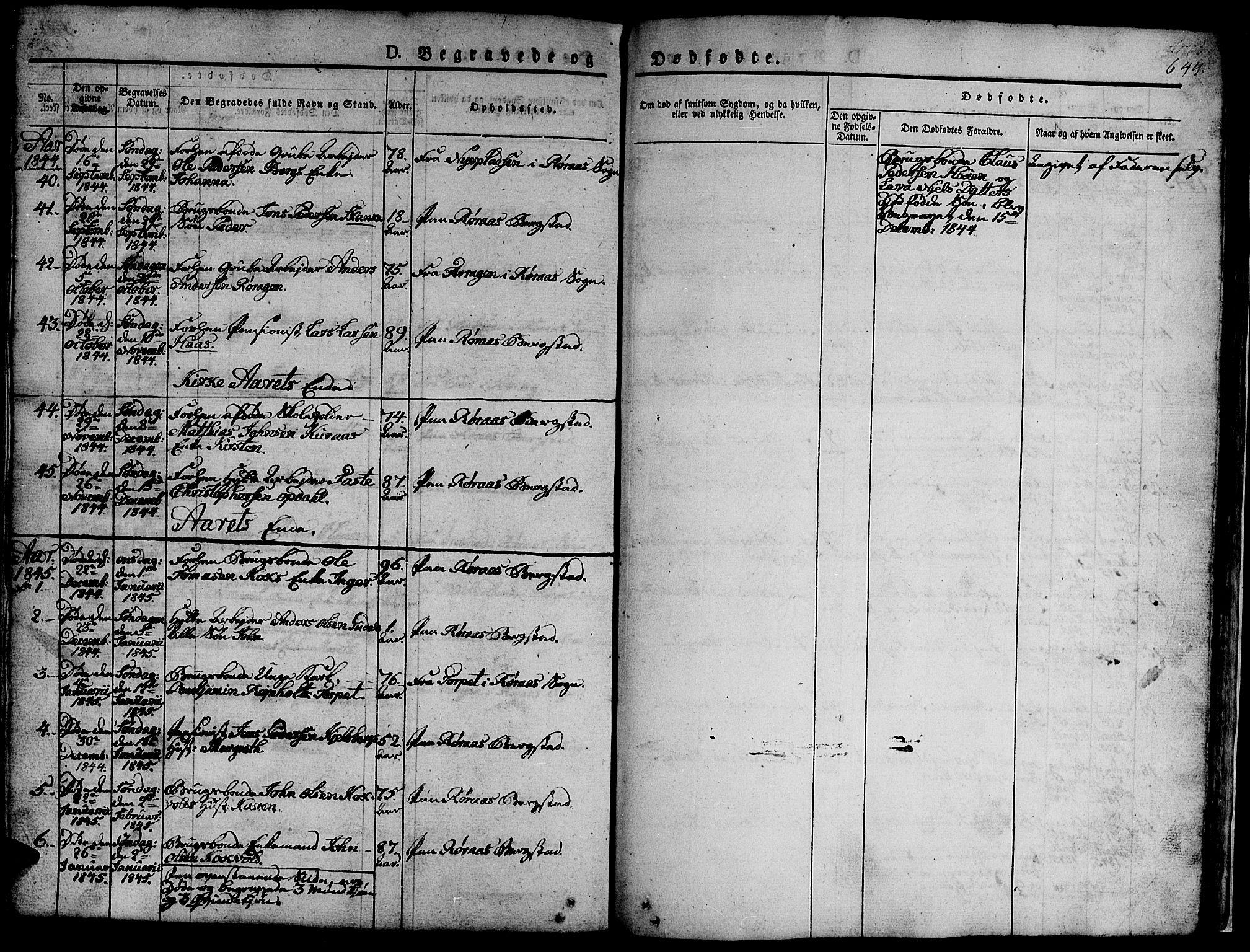SAT, Ministerialprotokoller, klokkerbøker og fødselsregistre - Sør-Trøndelag, 681/L0939: Klokkerbok nr. 681C03, 1829-1855, s. 644
