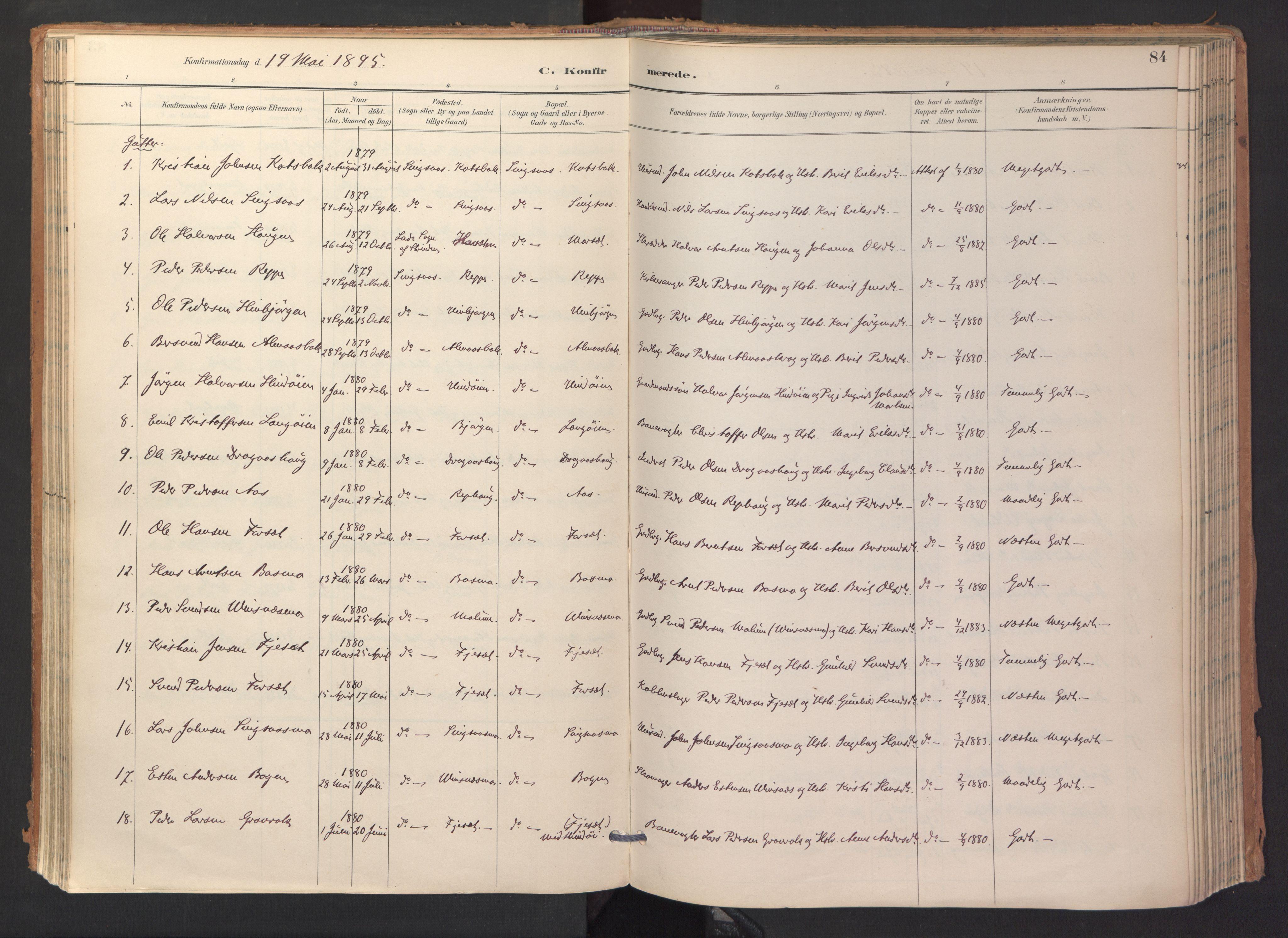 SAT, Ministerialprotokoller, klokkerbøker og fødselsregistre - Sør-Trøndelag, 688/L1025: Ministerialbok nr. 688A02, 1891-1909, s. 84