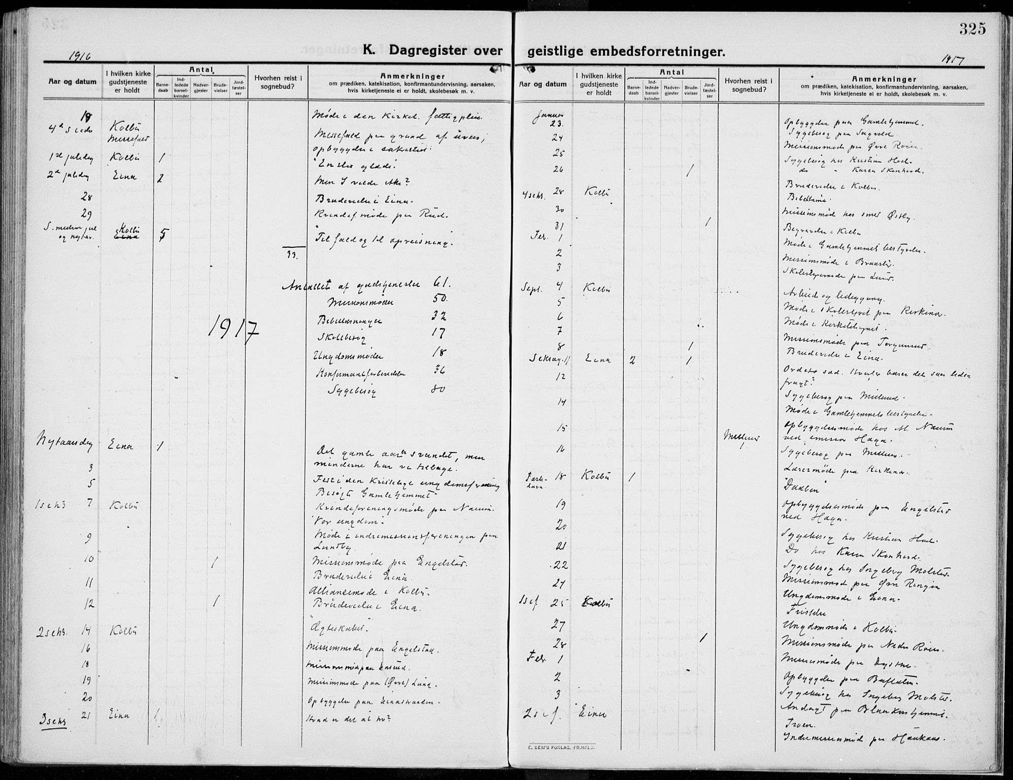 SAH, Kolbu prestekontor, Ministerialbok nr. 2, 1912-1926, s. 325