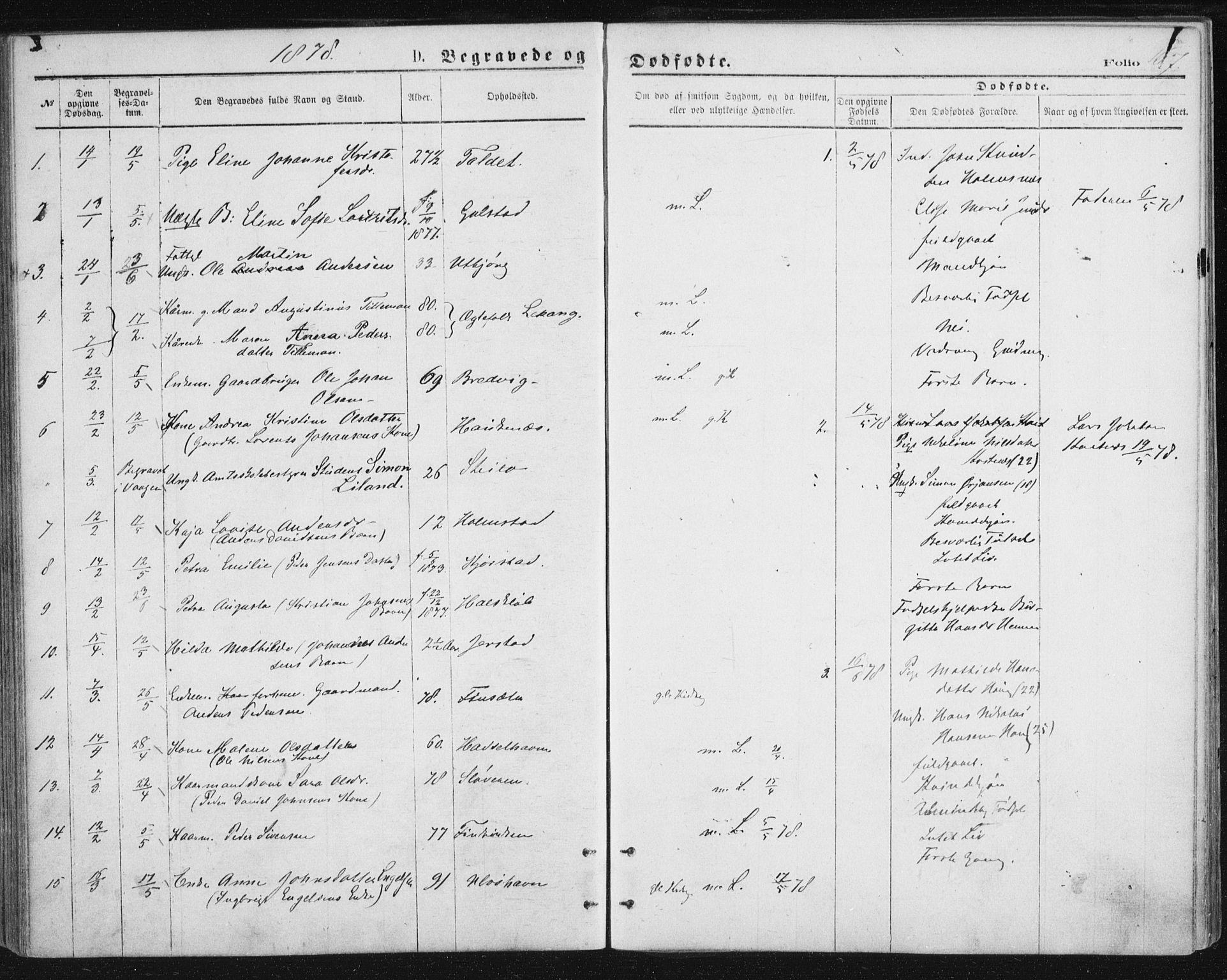 SAT, Ministerialprotokoller, klokkerbøker og fødselsregistre - Nordland, 888/L1243: Ministerialbok nr. 888A09, 1876-1879, s. 167