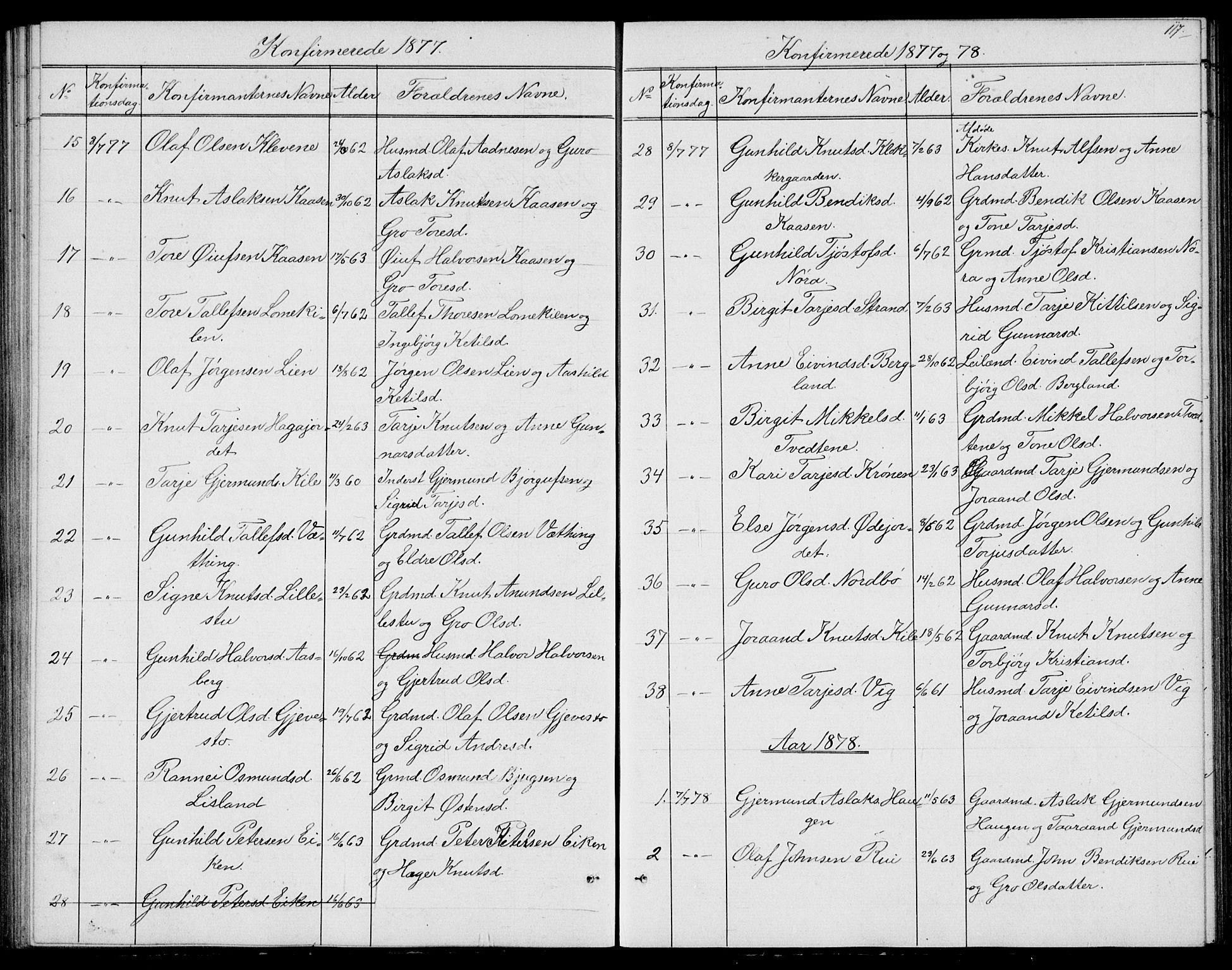 SAKO, Fyresdal kirkebøker, G/Ga/L0004: Klokkerbok nr. I 4, 1864-1892, s. 117