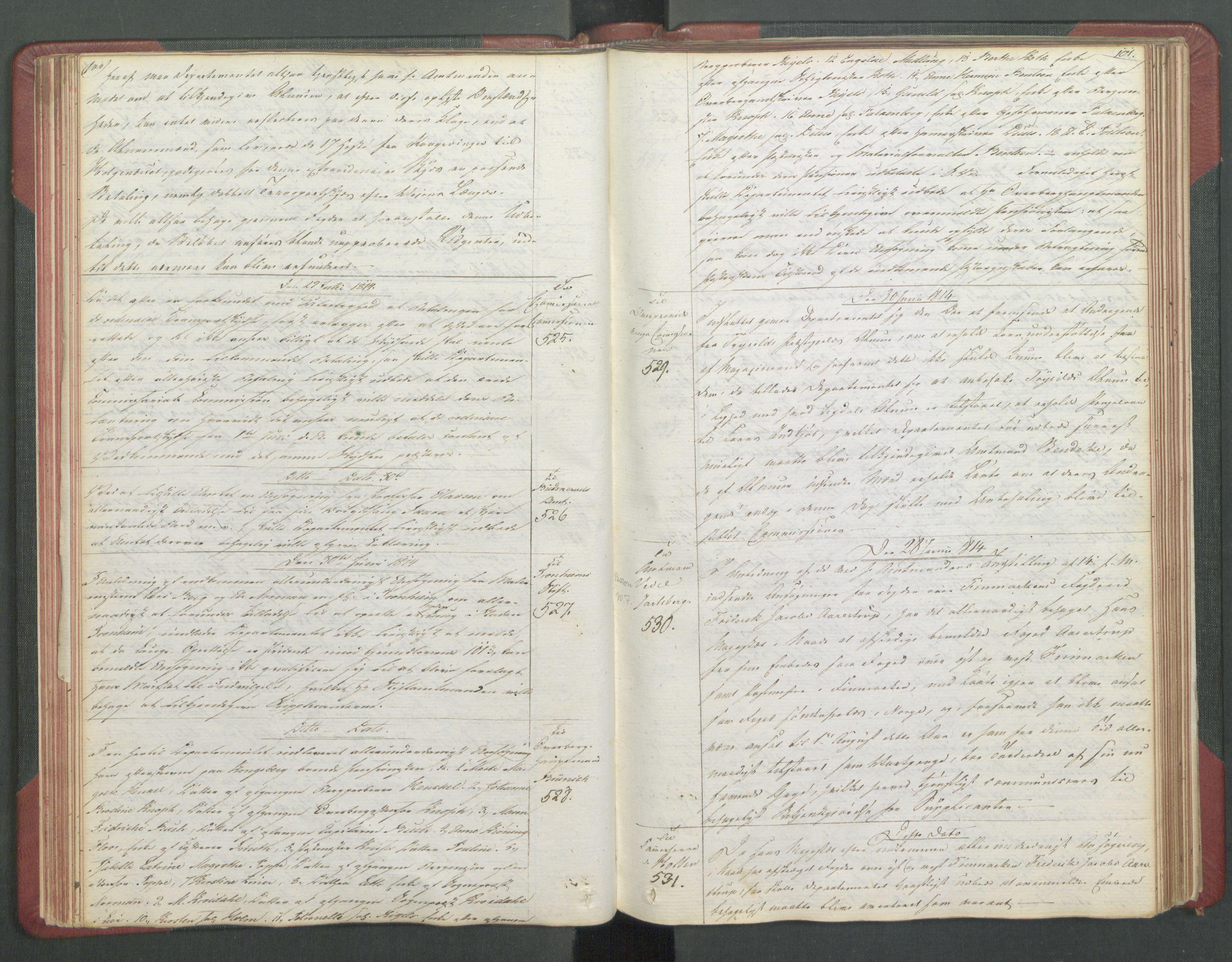 RA, Departementene i 1814, Fb/L0028: Kopibok 1-1371, 1814, s. 100-101