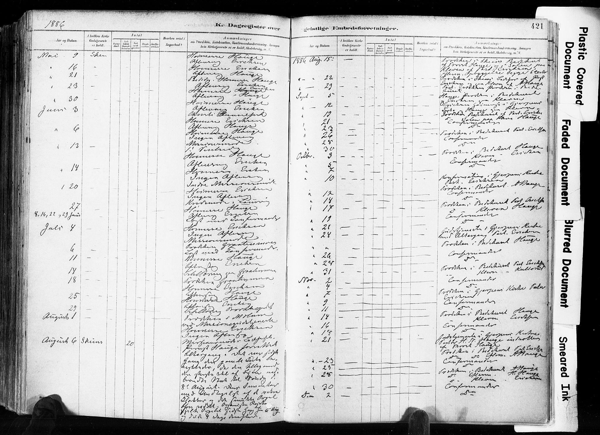 SAKO, Skien kirkebøker, F/Fa/L0009: Ministerialbok nr. 9, 1878-1890, s. 421