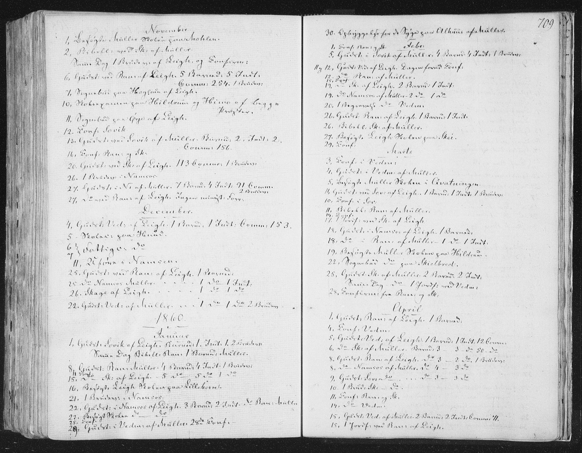 SAT, Ministerialprotokoller, klokkerbøker og fødselsregistre - Nord-Trøndelag, 764/L0552: Ministerialbok nr. 764A07b, 1824-1865, s. 709