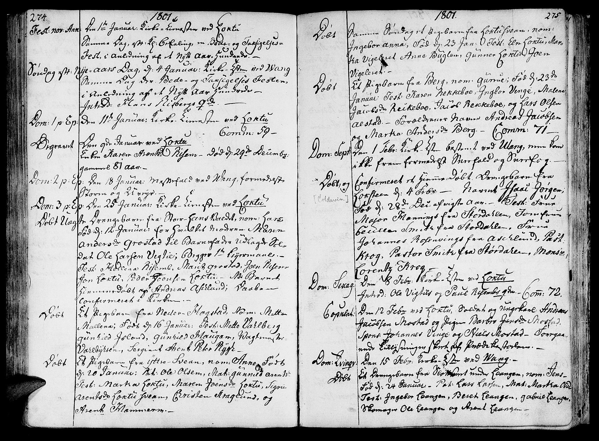 SAT, Ministerialprotokoller, klokkerbøker og fødselsregistre - Nord-Trøndelag, 713/L0110: Ministerialbok nr. 713A02, 1778-1811, s. 274-275