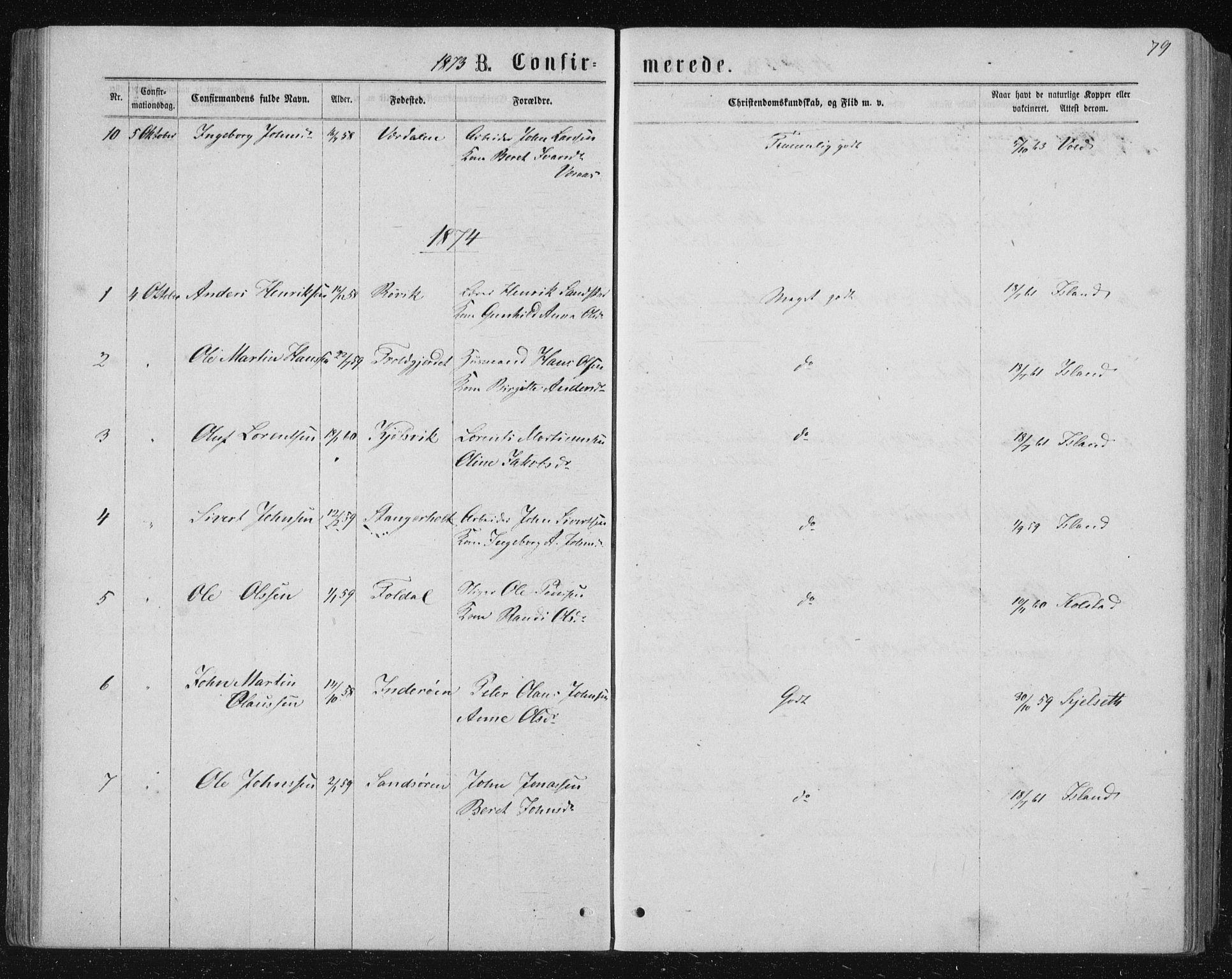SAT, Ministerialprotokoller, klokkerbøker og fødselsregistre - Nord-Trøndelag, 722/L0219: Ministerialbok nr. 722A06, 1868-1880, s. 79