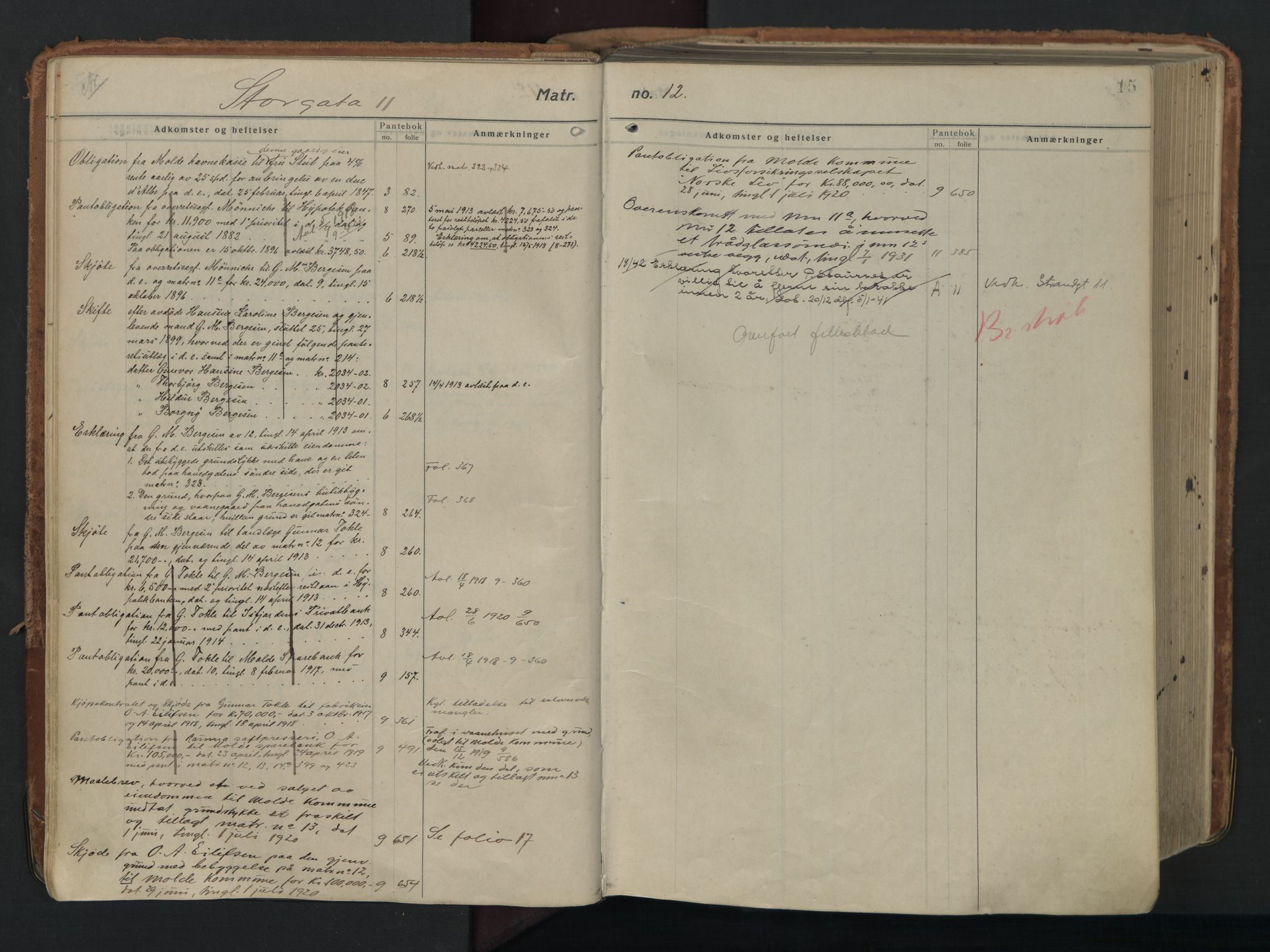 SAT, Molde byfogd, 2/2A/L0006: Panteregister nr. 6, 1835-1835, s. 15