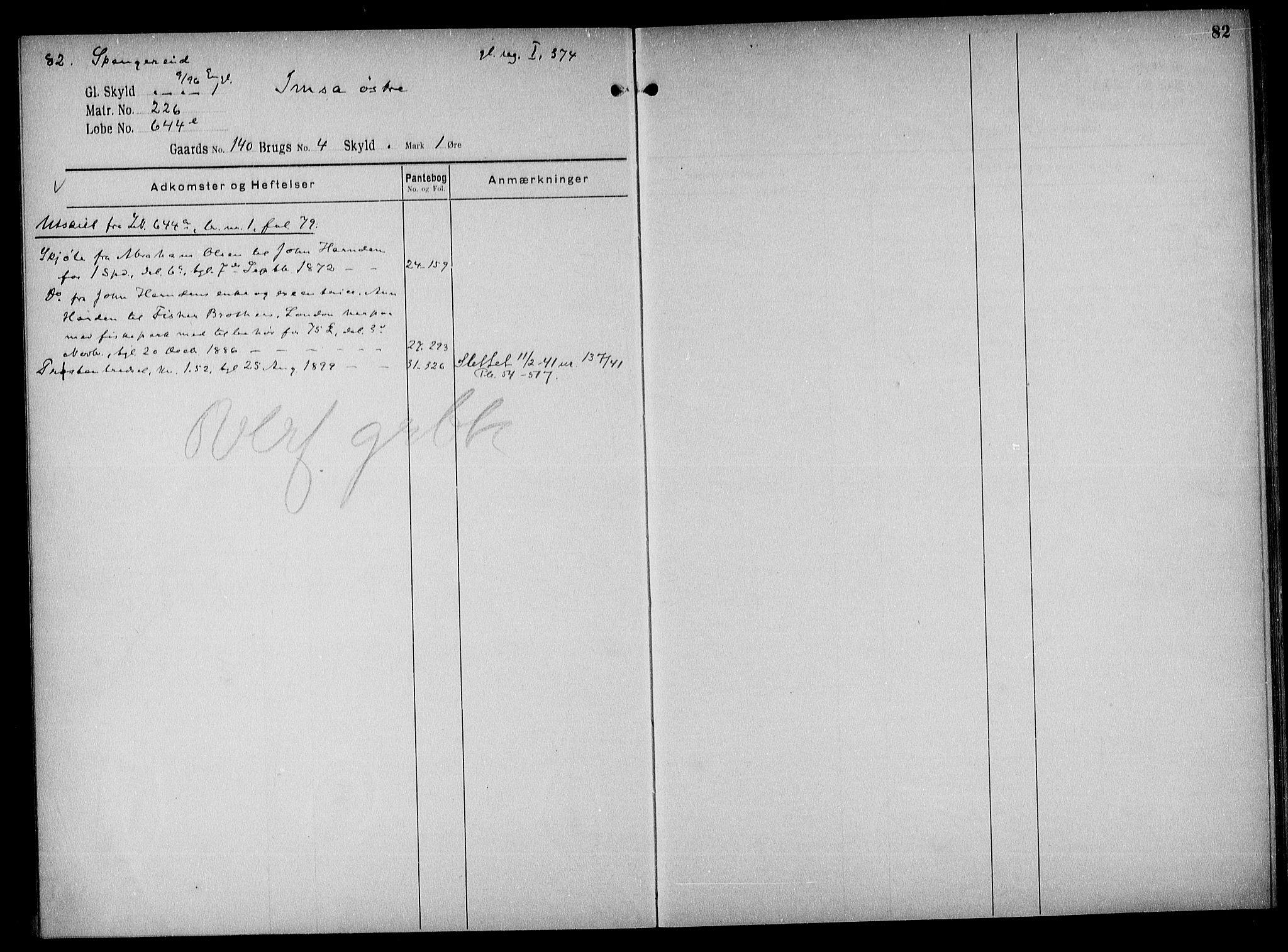 SAK, Mandal sorenskriveri, G/Ga/L0044: Panteregister nr. 40a, 1810-1952, s. 82