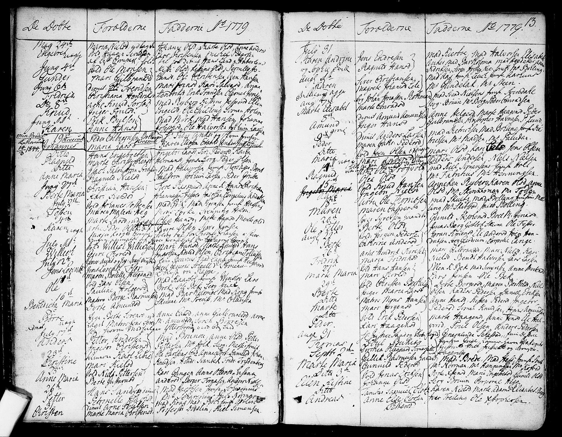 SAO, Garnisonsmenigheten Kirkebøker, F/Fa/L0003: Ministerialbok nr. 3, 1777-1809, s. 13