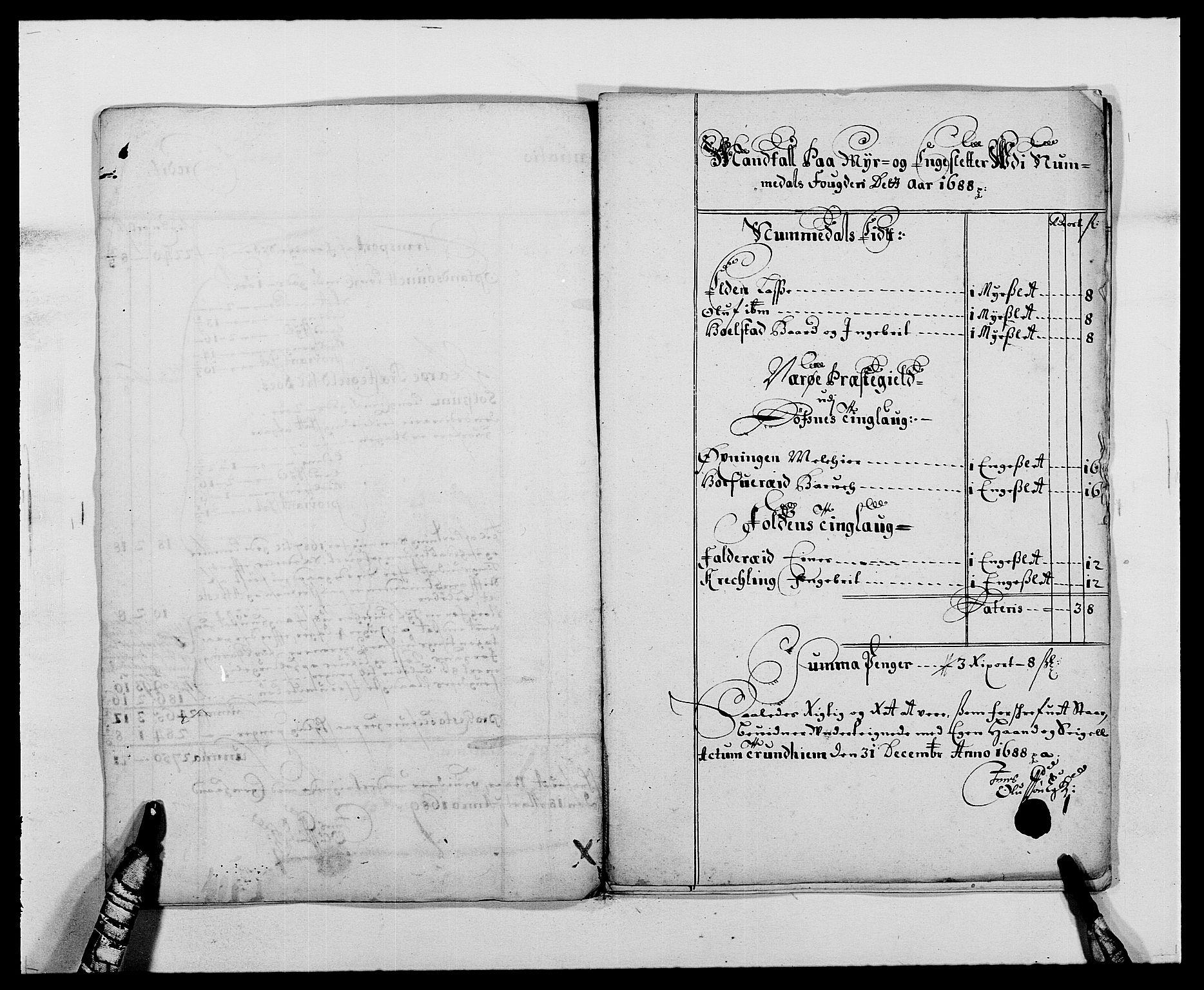 RA, Rentekammeret inntil 1814, Reviderte regnskaper, Fogderegnskap, R64/L4422: Fogderegnskap Namdal, 1687-1689, s. 100