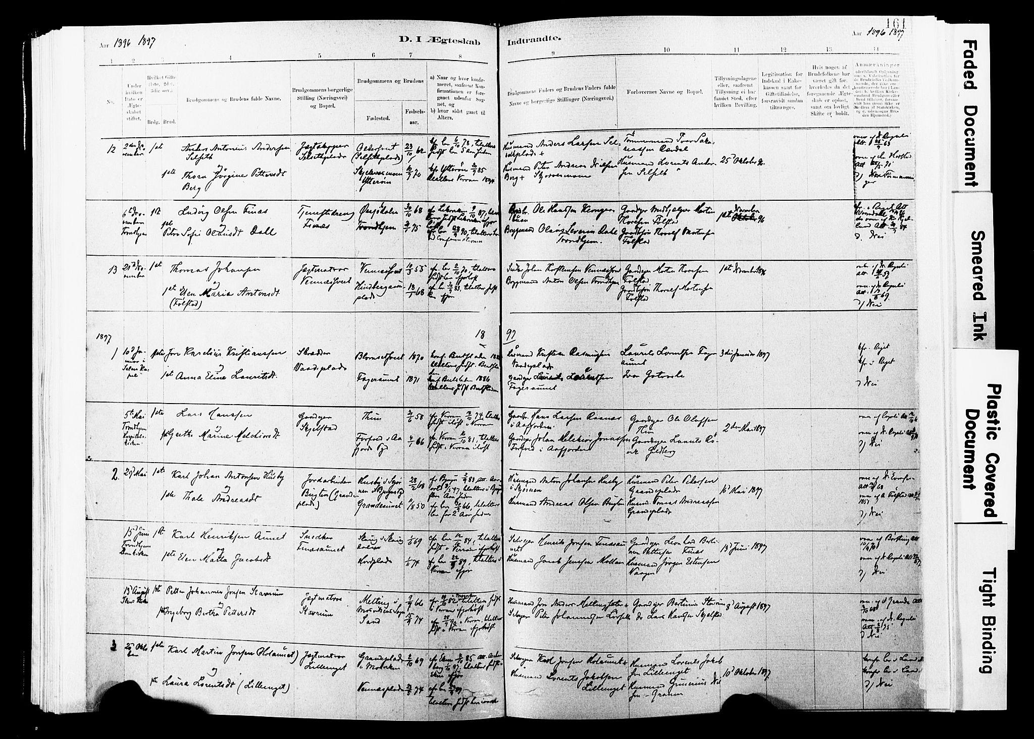 SAT, Ministerialprotokoller, klokkerbøker og fødselsregistre - Nord-Trøndelag, 744/L0420: Ministerialbok nr. 744A04, 1882-1904, s. 161
