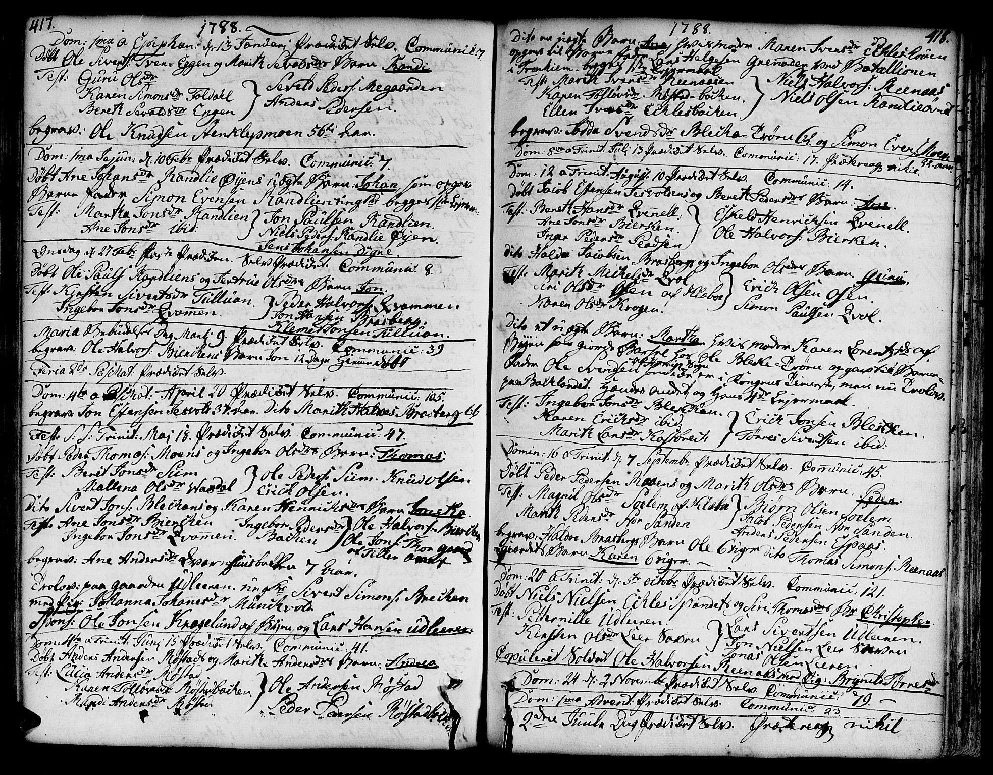 SAT, Ministerialprotokoller, klokkerbøker og fødselsregistre - Sør-Trøndelag, 606/L0282: Ministerialbok nr. 606A02 /3, 1781-1817, s. 417-418