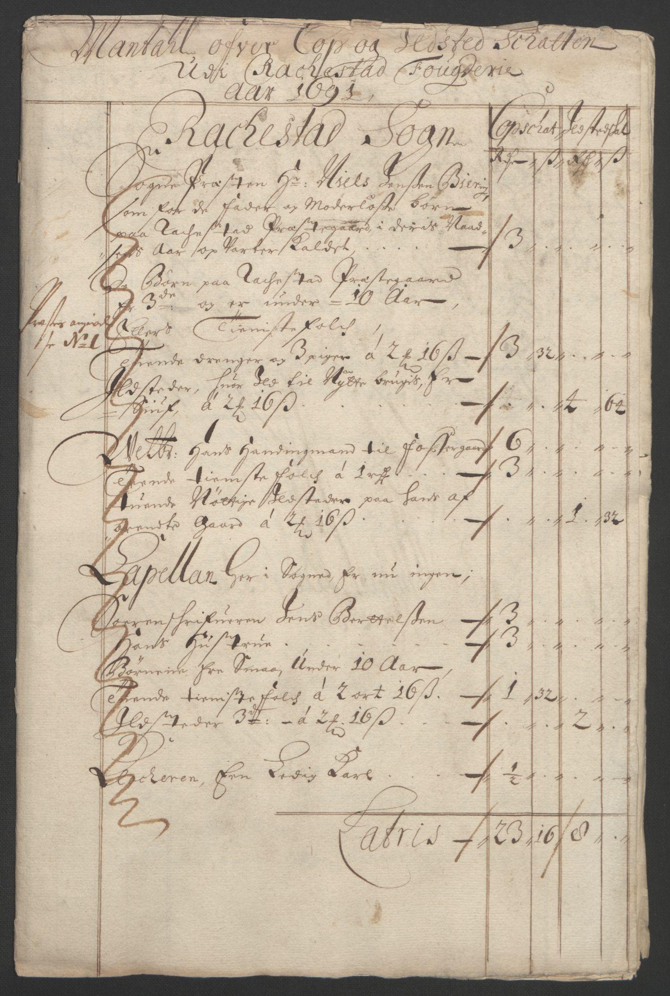 RA, Rentekammeret inntil 1814, Reviderte regnskaper, Fogderegnskap, R05/L0278: Fogderegnskap Rakkestad, 1691-1693, s. 94