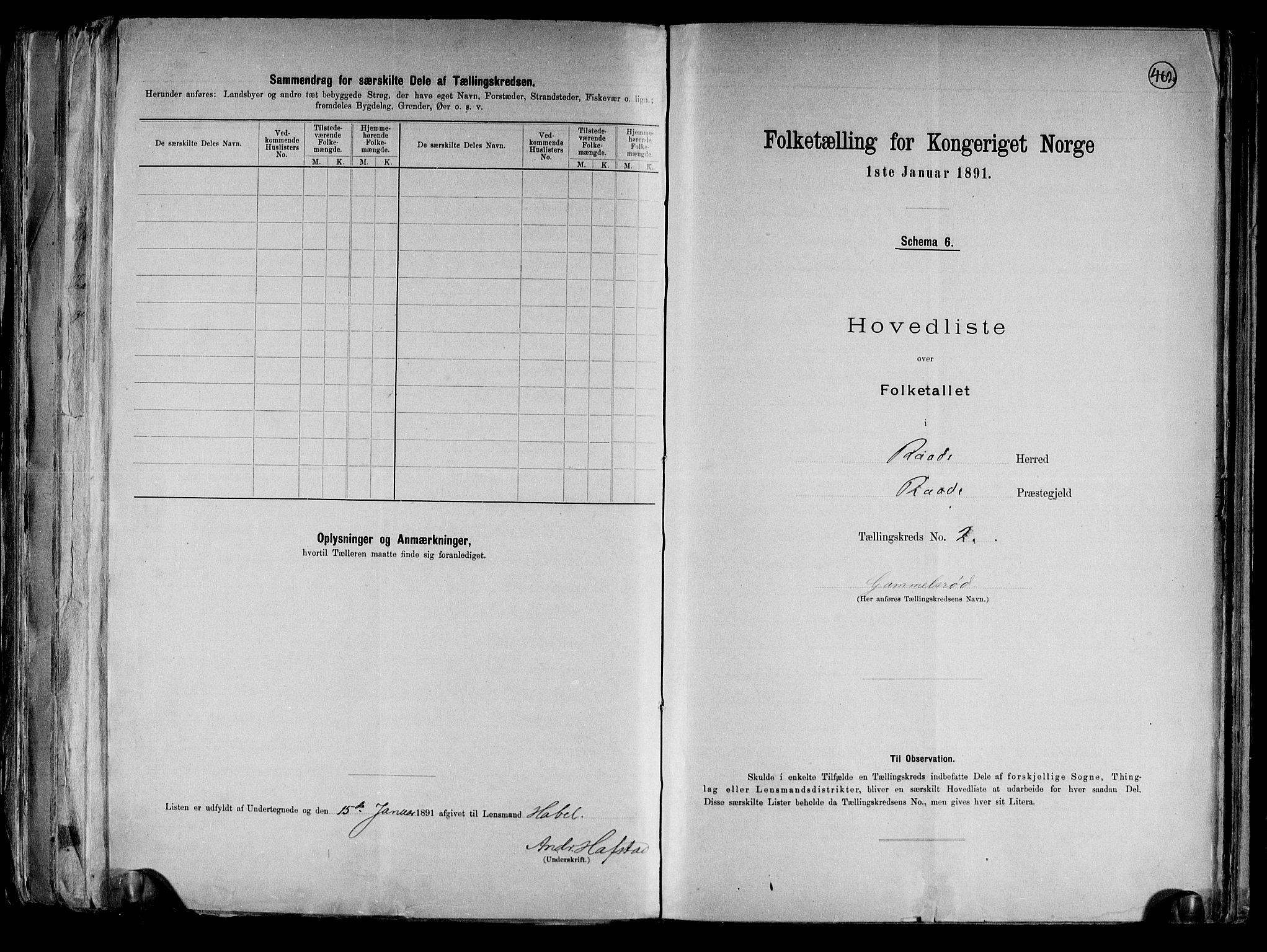 RA, Folketelling 1891 for 0135 Råde herred, 1891, s. 6