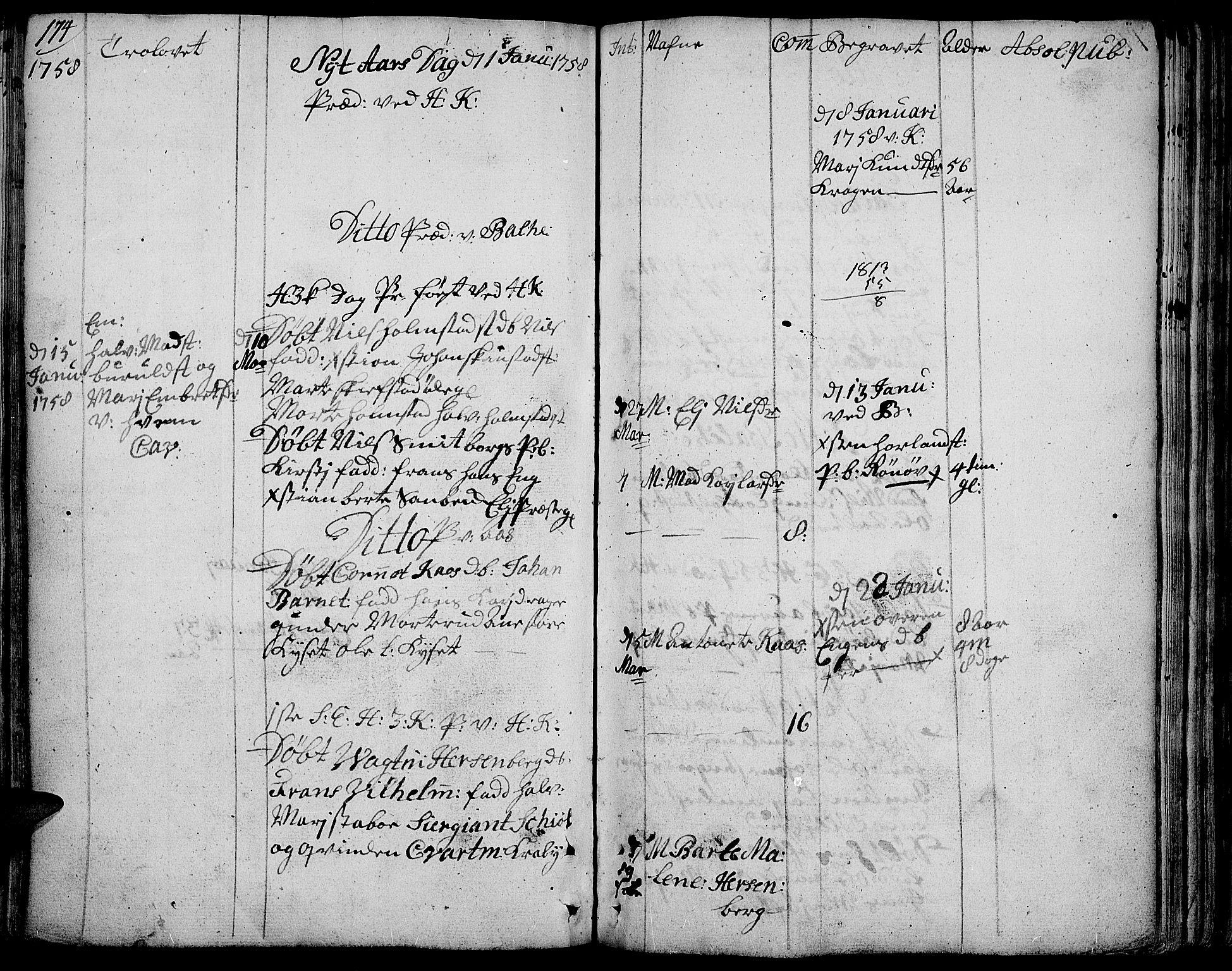 SAH, Toten prestekontor, Ministerialbok nr. 4, 1751-1761, s. 174