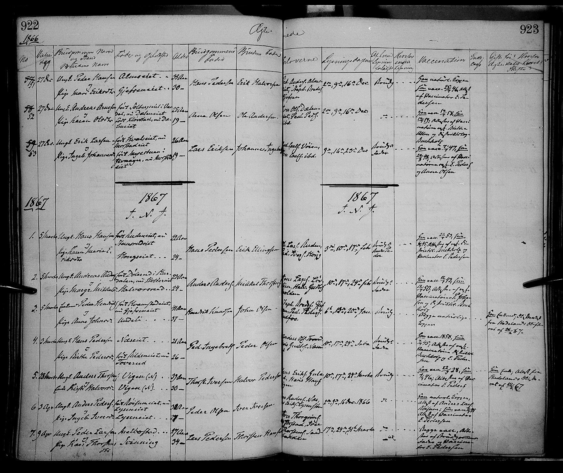 SAH, Gran prestekontor, Ministerialbok nr. 12, 1856-1874, s. 922-923