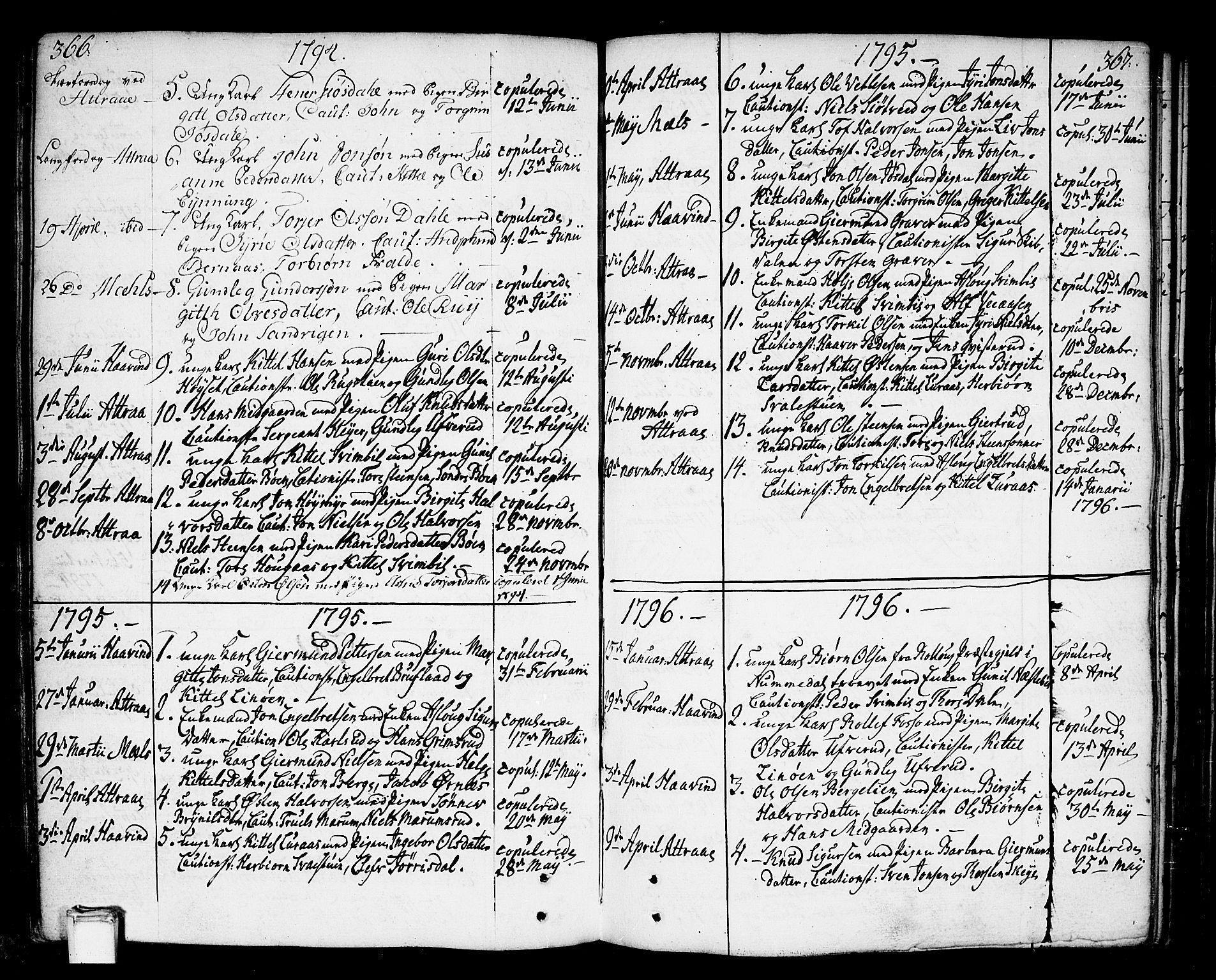 SAKO, Tinn kirkebøker, F/Fa/L0002: Ministerialbok nr. I 2, 1757-1810, s. 366-367