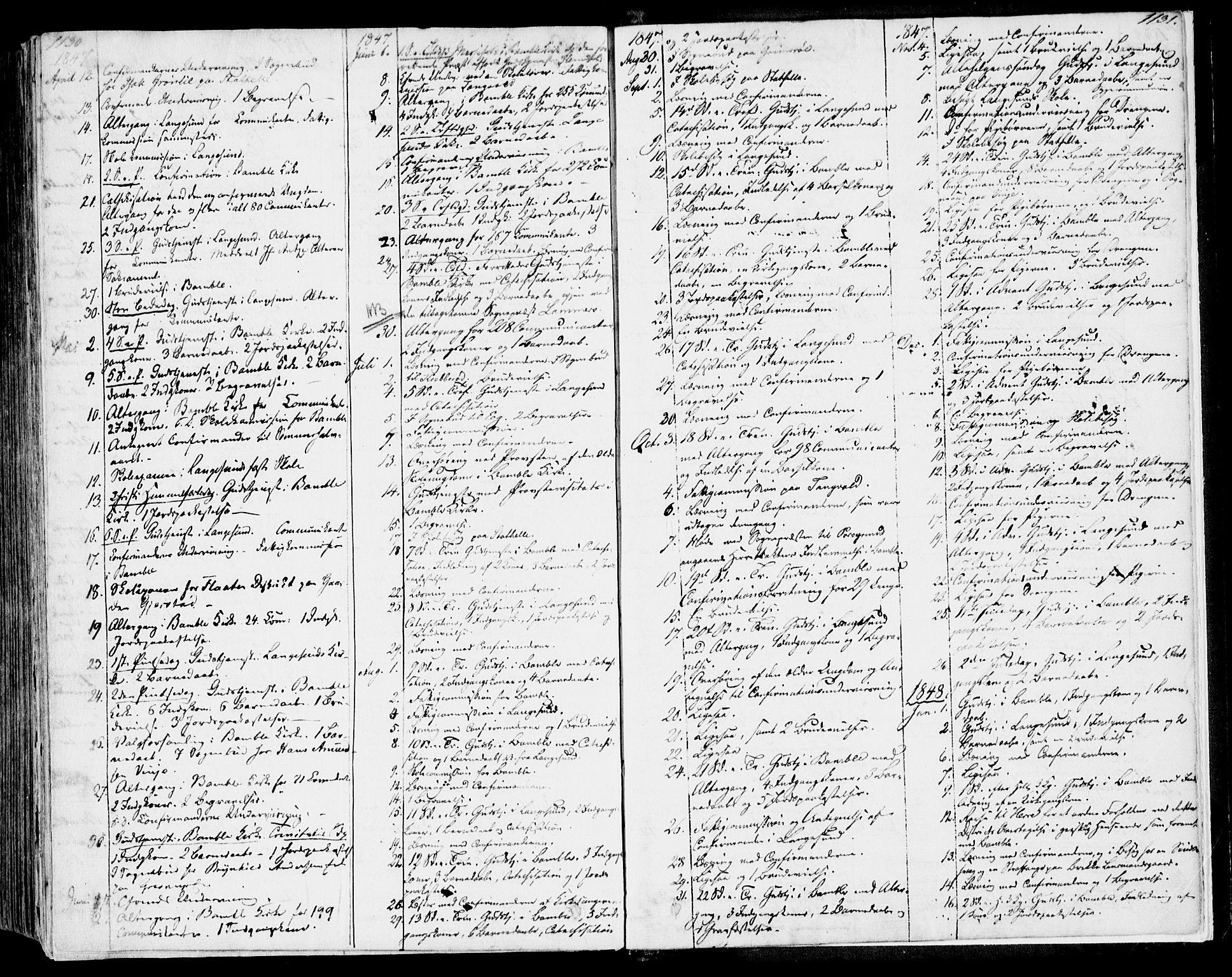 SAKO, Bamble kirkebøker, F/Fa/L0004: Ministerialbok nr. I 4, 1834-1853, s. 1130-1131