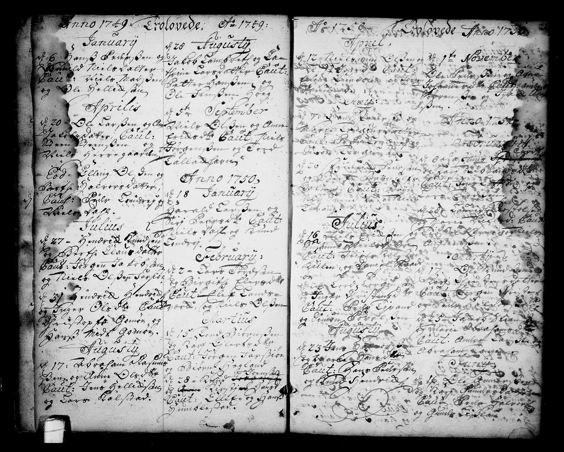 SAKO, Sannidal kirkebøker, F/Fa/L0001: Ministerialbok nr. 1, 1702-1766, s. 20-21