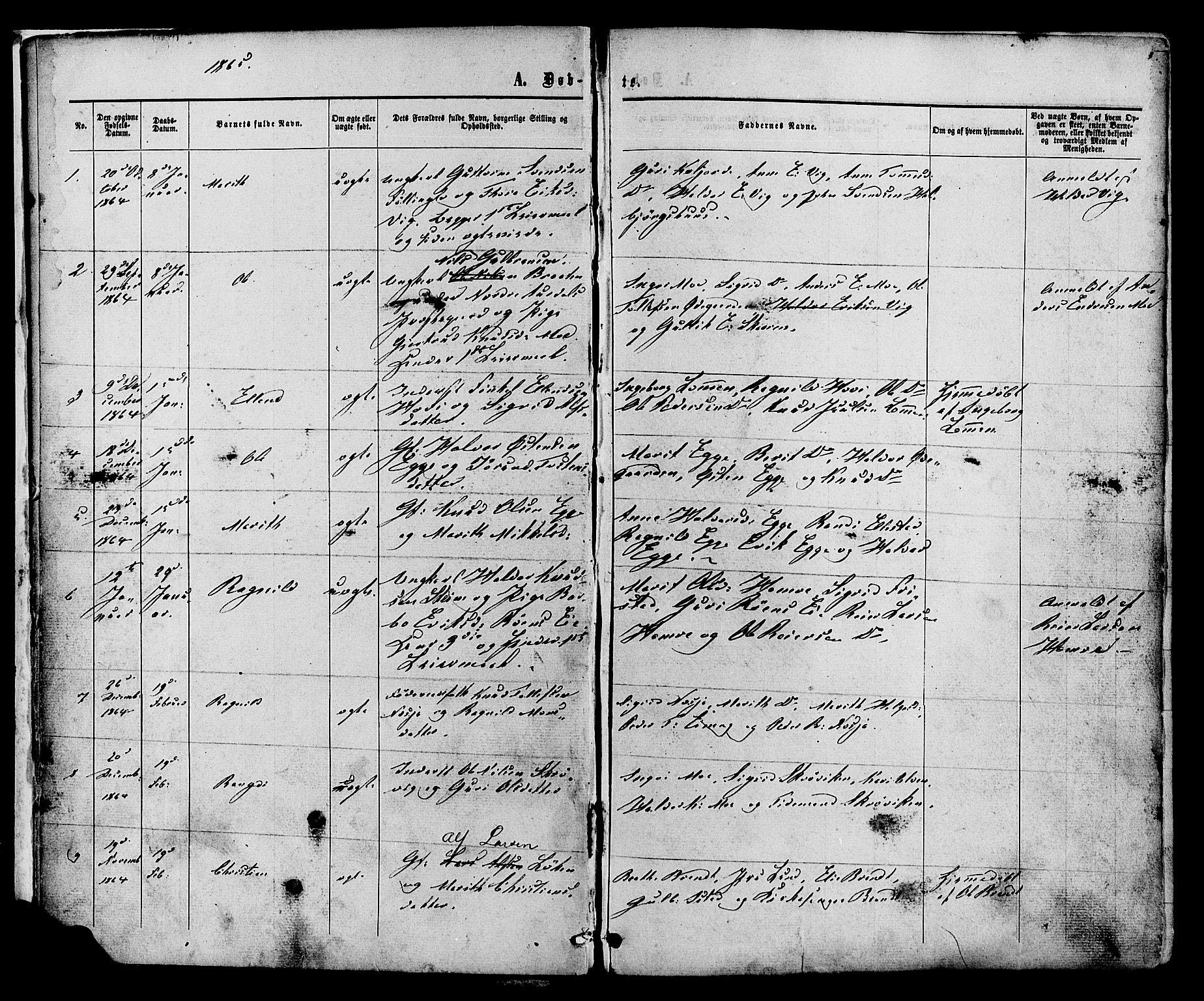 SAH, Vestre Slidre prestekontor, Ministerialbok nr. 3, 1865-1880, s. 5