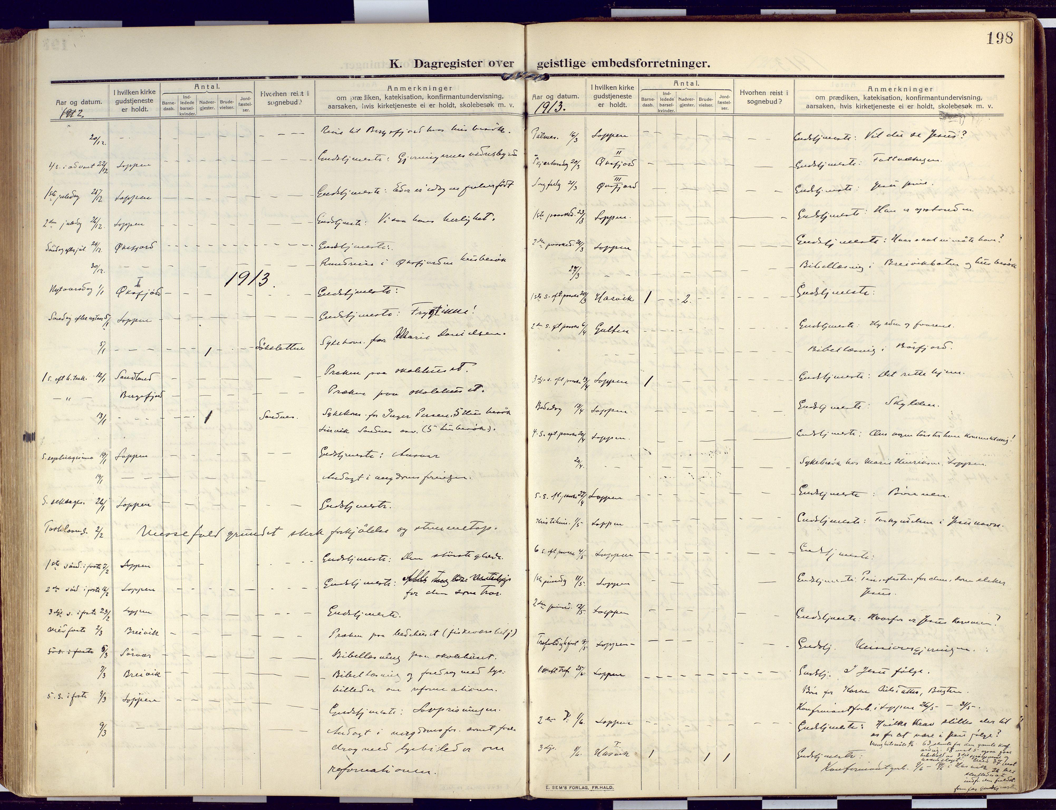 SATØ, Loppa sokneprestkontor, H/Ha/L0011kirke: Ministerialbok nr. 11, 1909-1919, s. 198