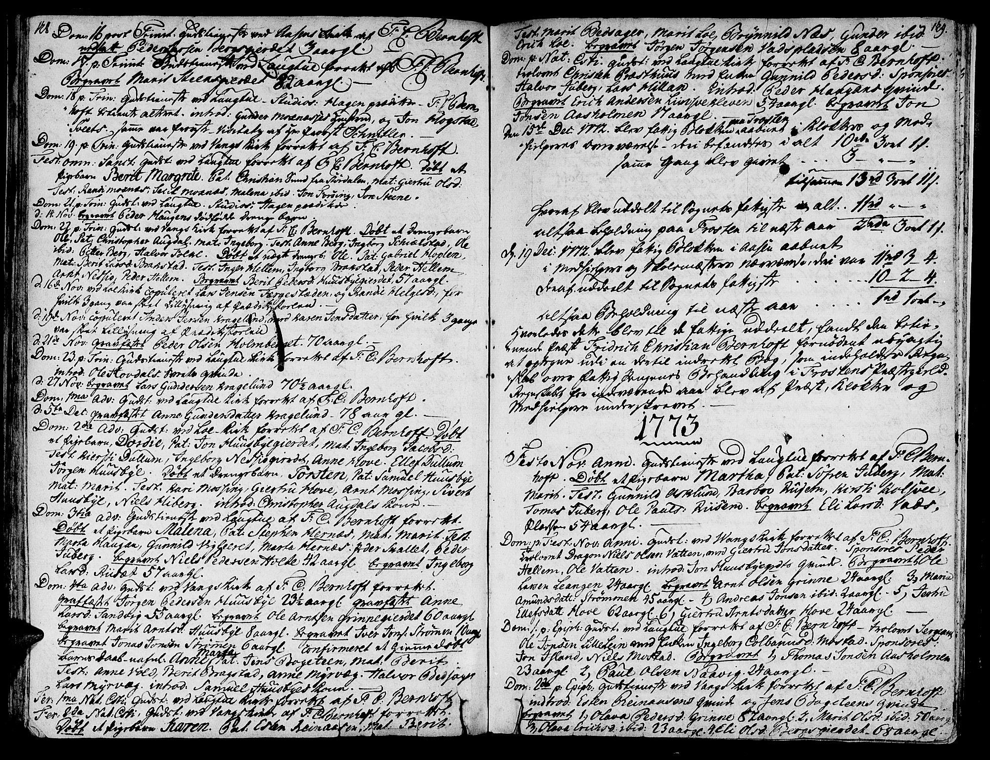 SAT, Ministerialprotokoller, klokkerbøker og fødselsregistre - Nord-Trøndelag, 713/L0109: Ministerialbok nr. 713A01, 1750-1778, s. 128-129