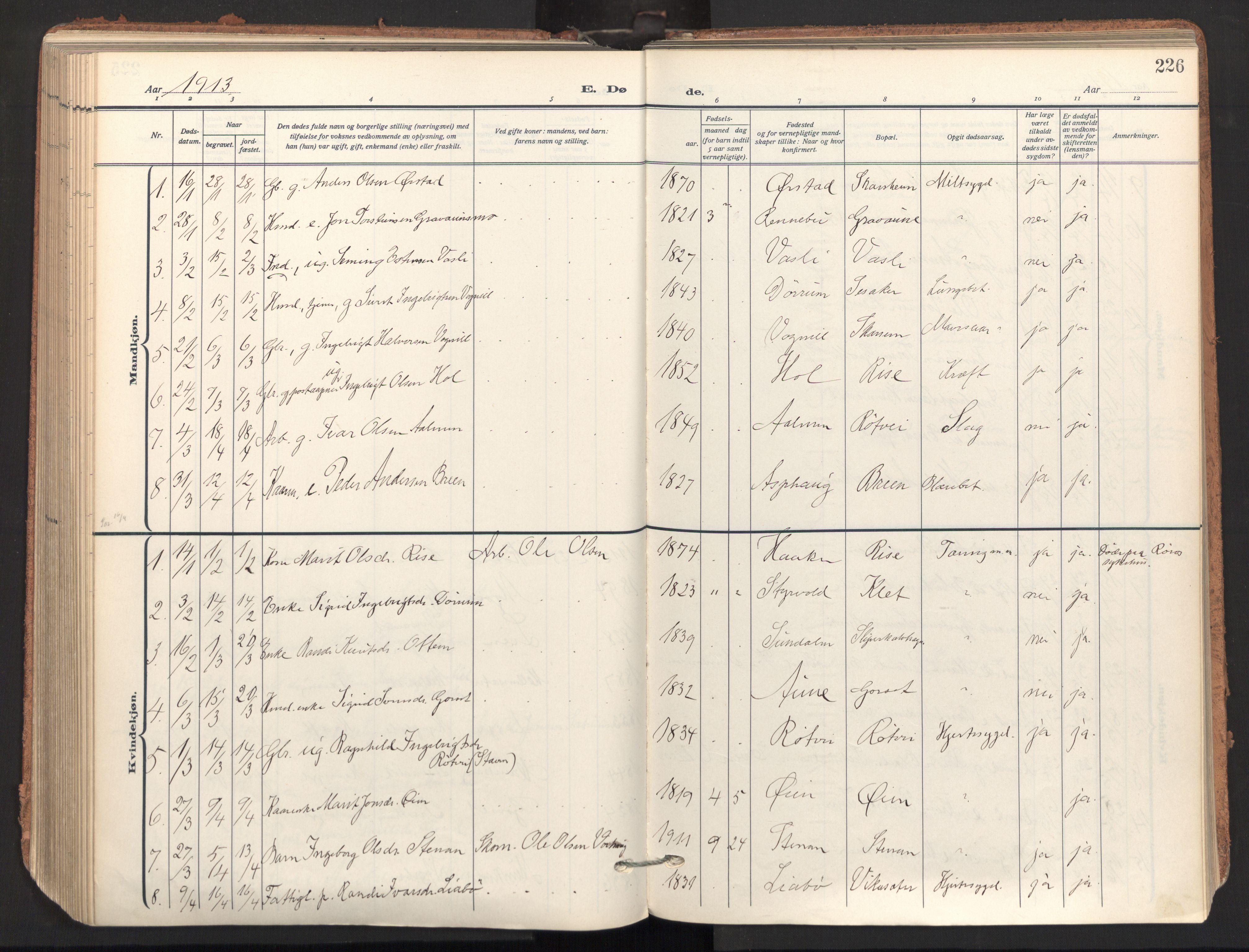 SAT, Ministerialprotokoller, klokkerbøker og fødselsregistre - Sør-Trøndelag, 678/L0909: Ministerialbok nr. 678A17, 1912-1930, s. 226