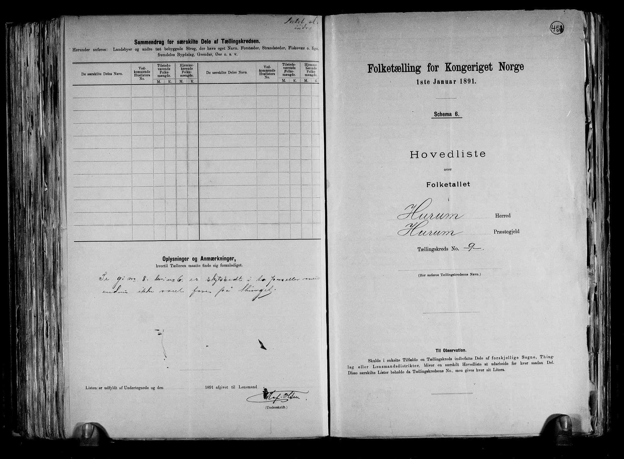 RA, Folketelling 1891 for 0628 Hurum herred, 1891, s. 21