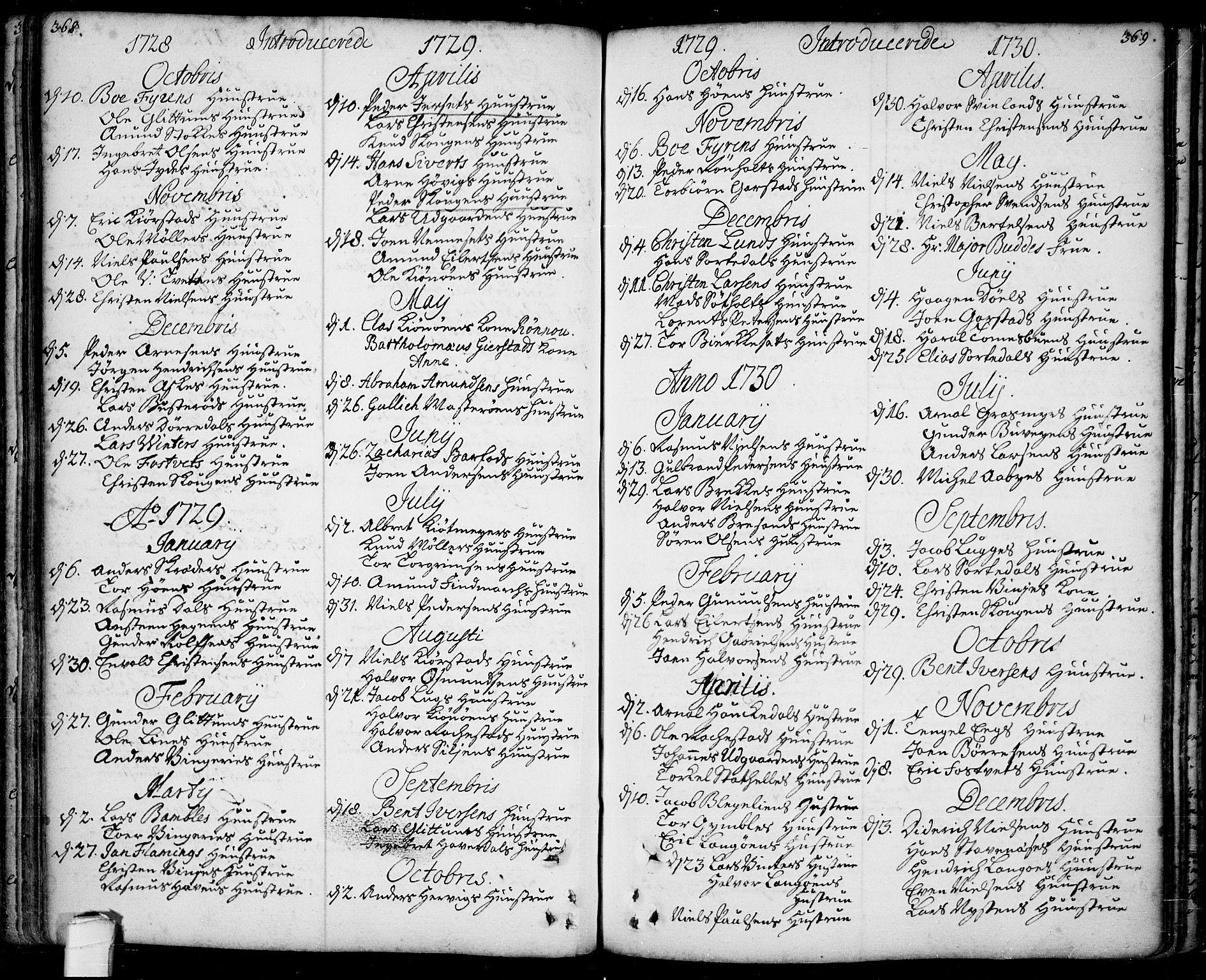 SAKO, Bamble kirkebøker, F/Fa/L0001: Ministerialbok nr. I 1, 1702-1774, s. 368-369