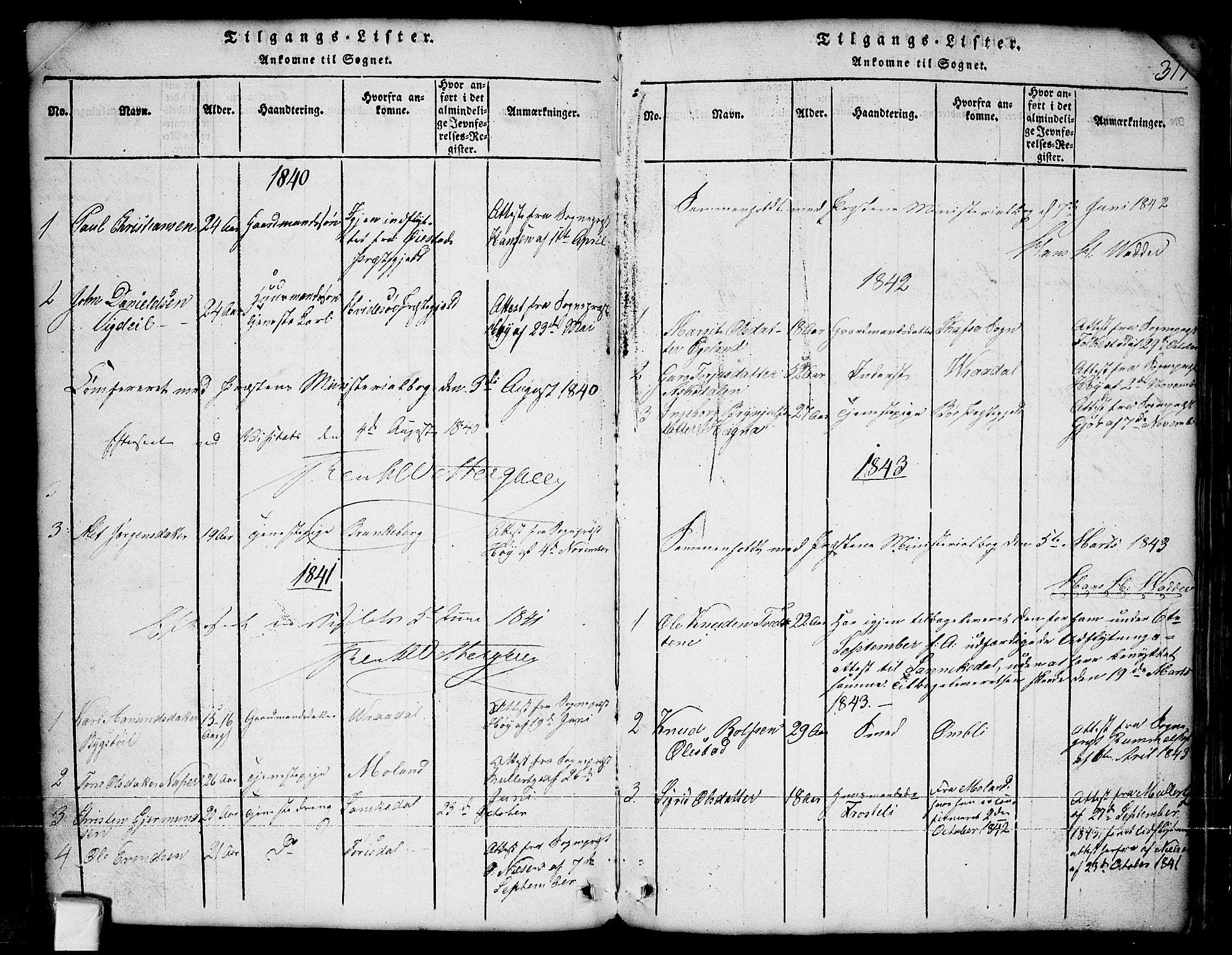 SAKO, Nissedal kirkebøker, G/Ga/L0001: Klokkerbok nr. I 1, 1814-1860, s. 317