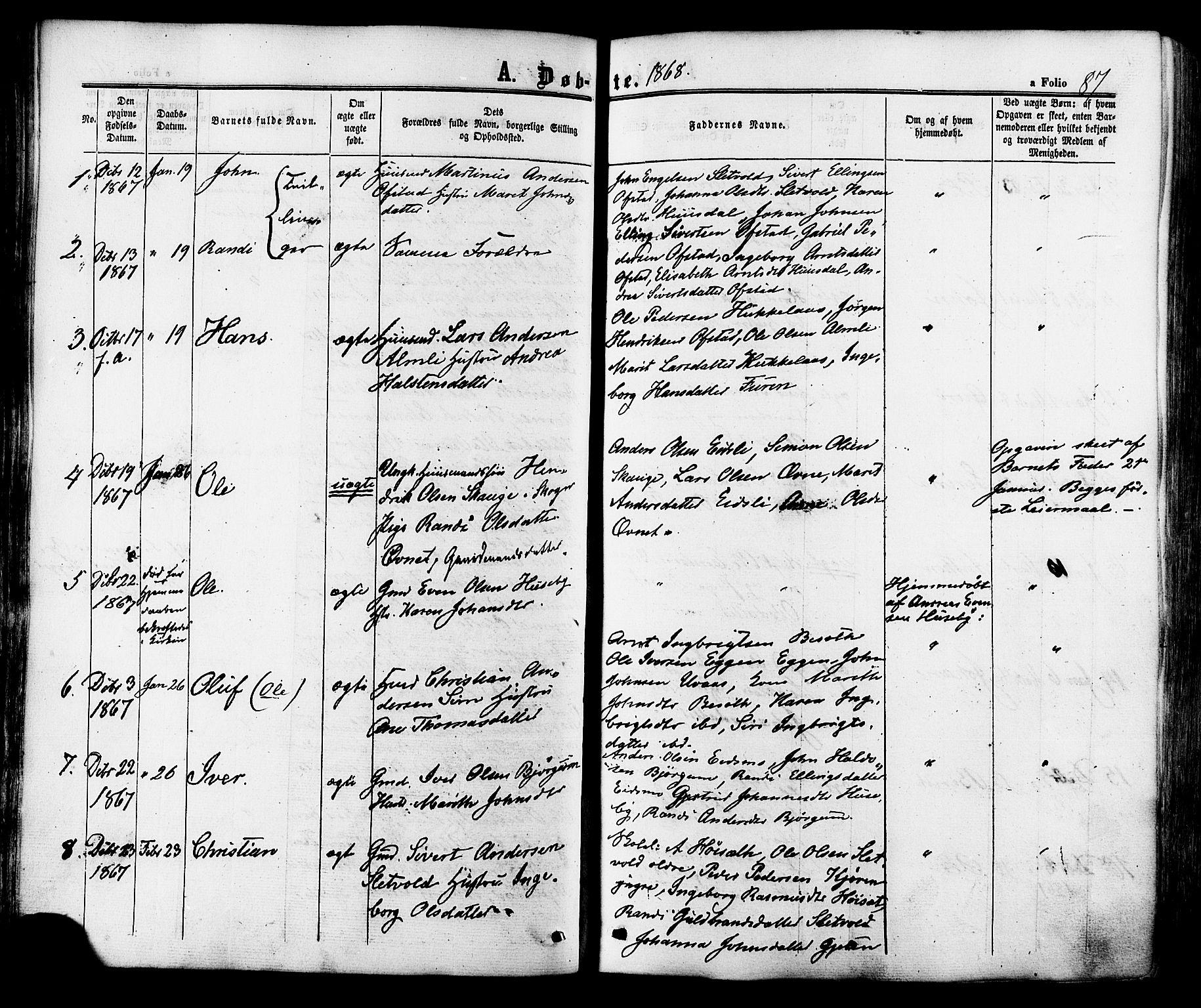 SAT, Ministerialprotokoller, klokkerbøker og fødselsregistre - Sør-Trøndelag, 665/L0772: Ministerialbok nr. 665A07, 1856-1878, s. 87