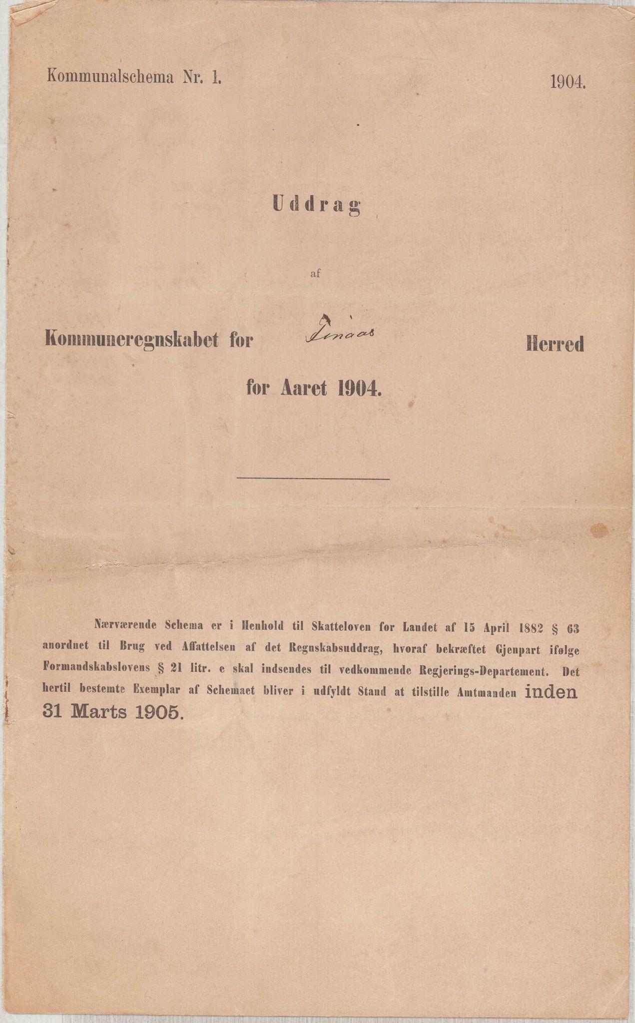 IKAH, Finnaas kommune. Heradskassen, R/Ra/Raa/L0001: Årsrekneskap, 1904-1910, s. 1