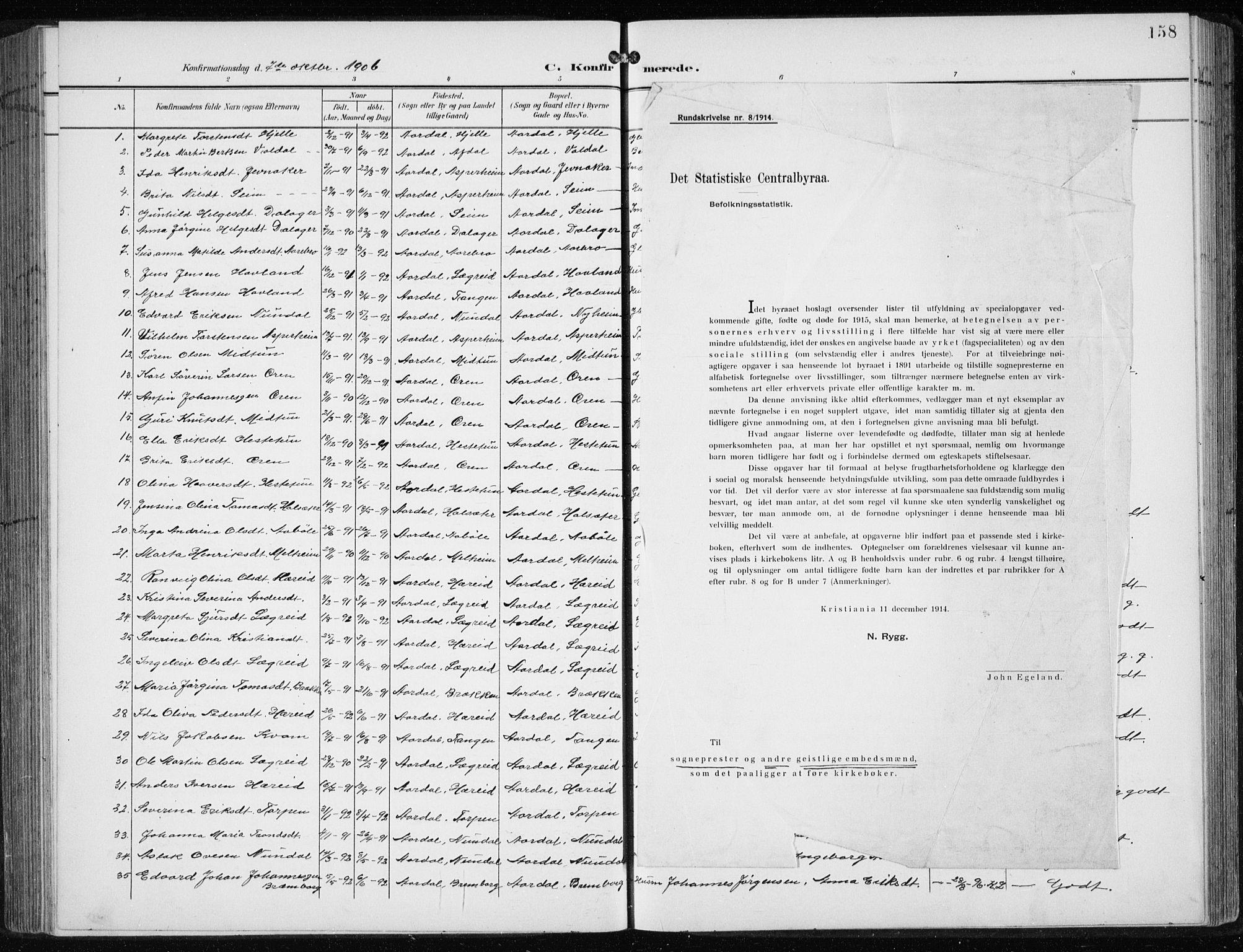SAB, Årdal Sokneprestembete, Klokkerbok nr. A 2, 1899-1939, s. 158
